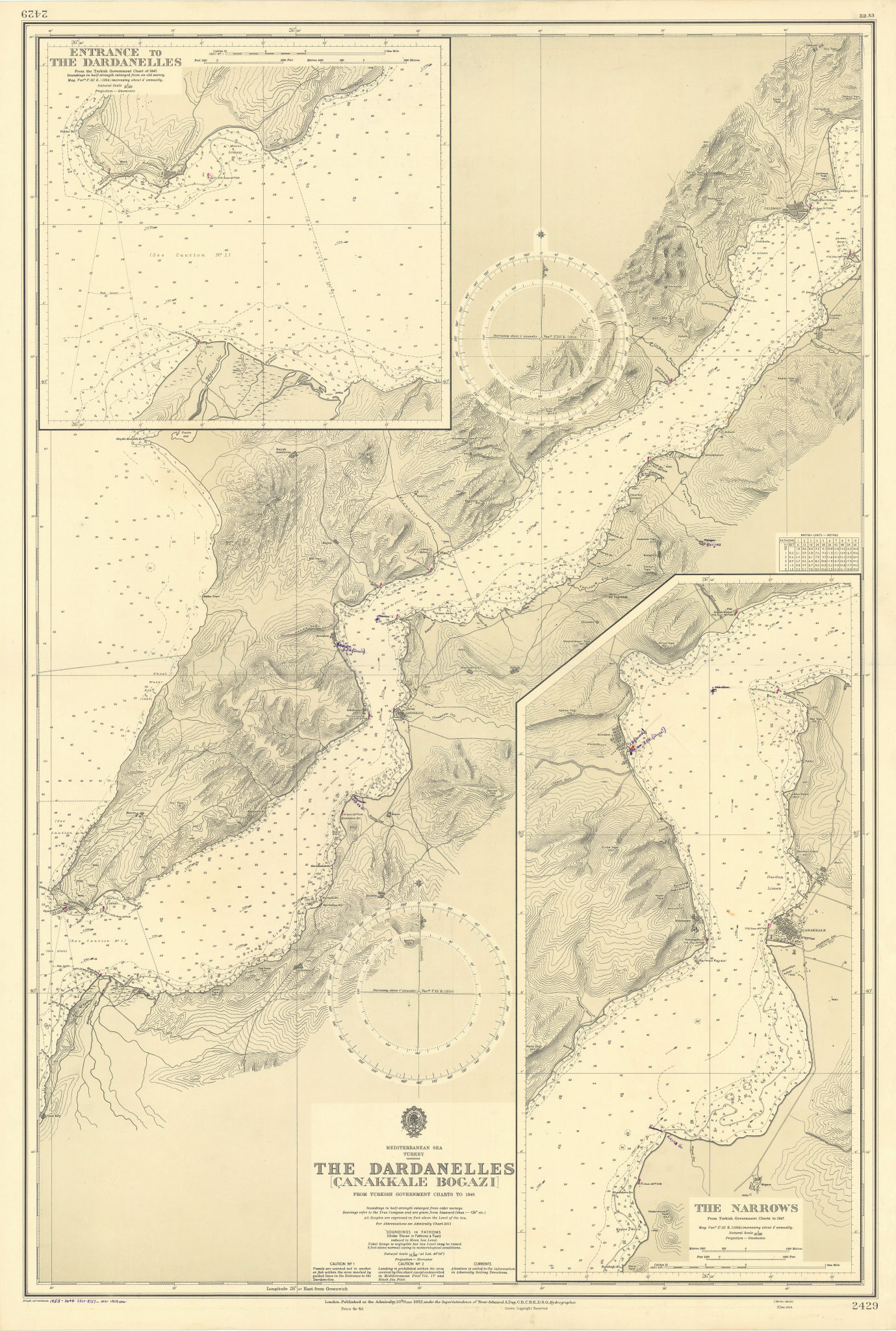 Dardanelles/Canakkale Bogazi. Narrows Turkey ADMIRALTY sea chart 1952 (1954) map