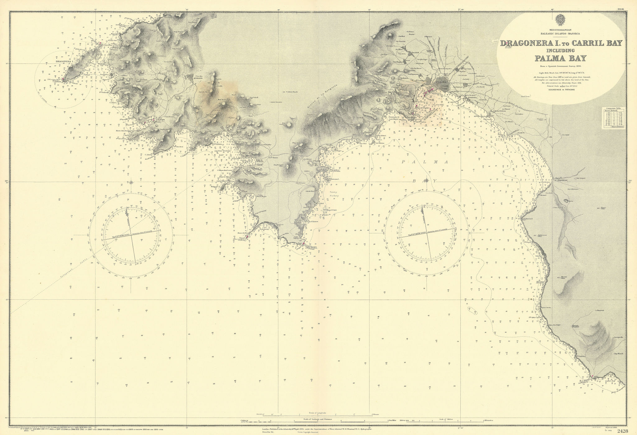 Majorca Mallorca SW coast. Palma Bay. ADMIRALTY sea chart 1895 (1956) old map