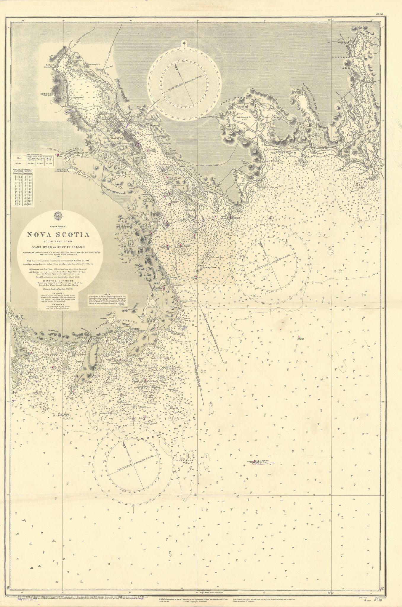 Nova Scotia Mars Head-Shut-in Island Halifax ADMIRALTY chart 1855 (1955) map