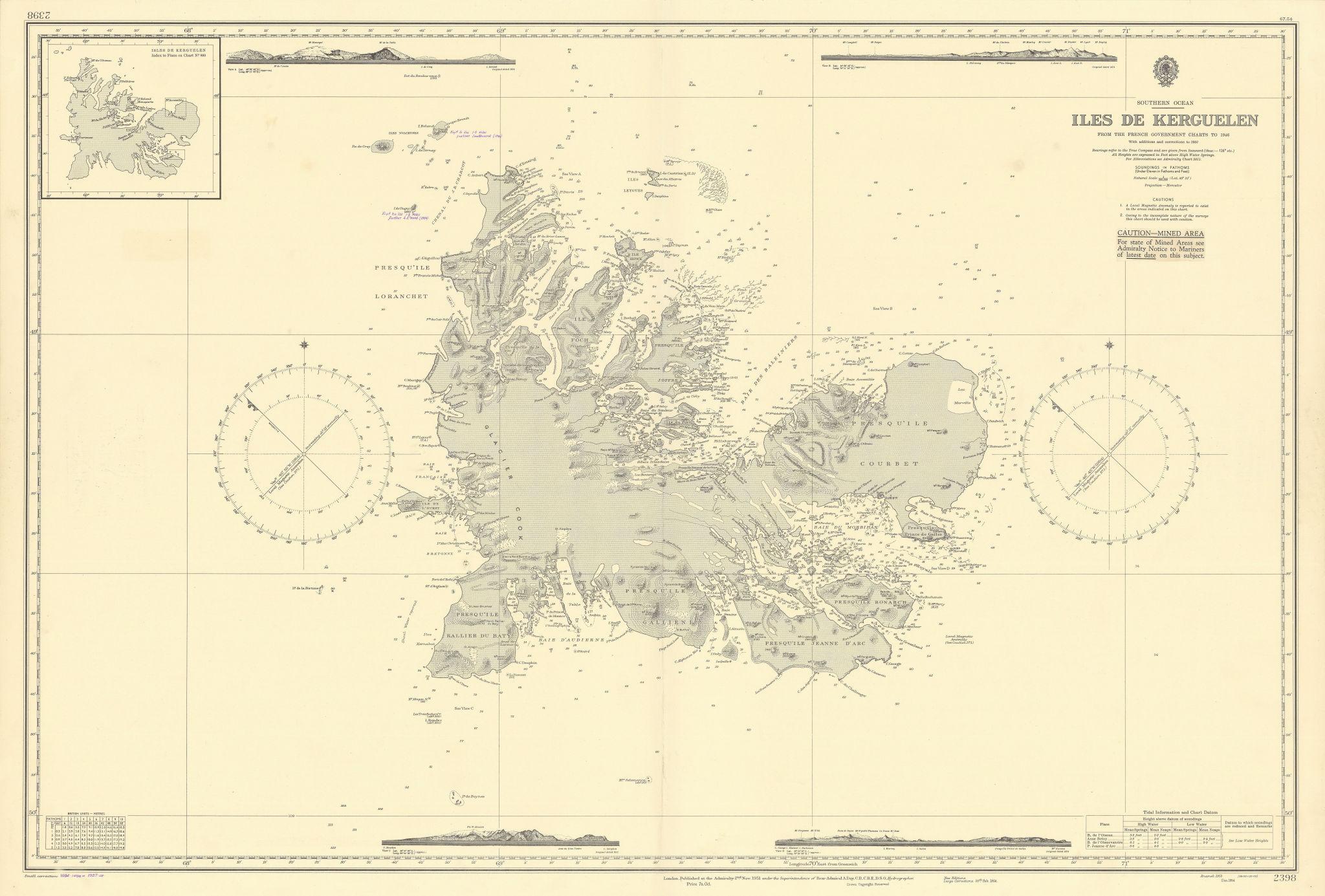 Kerguelen Islands Indian Ocean Sub-Antarctic ADMIRALTY sea chart 1951 (1957) map