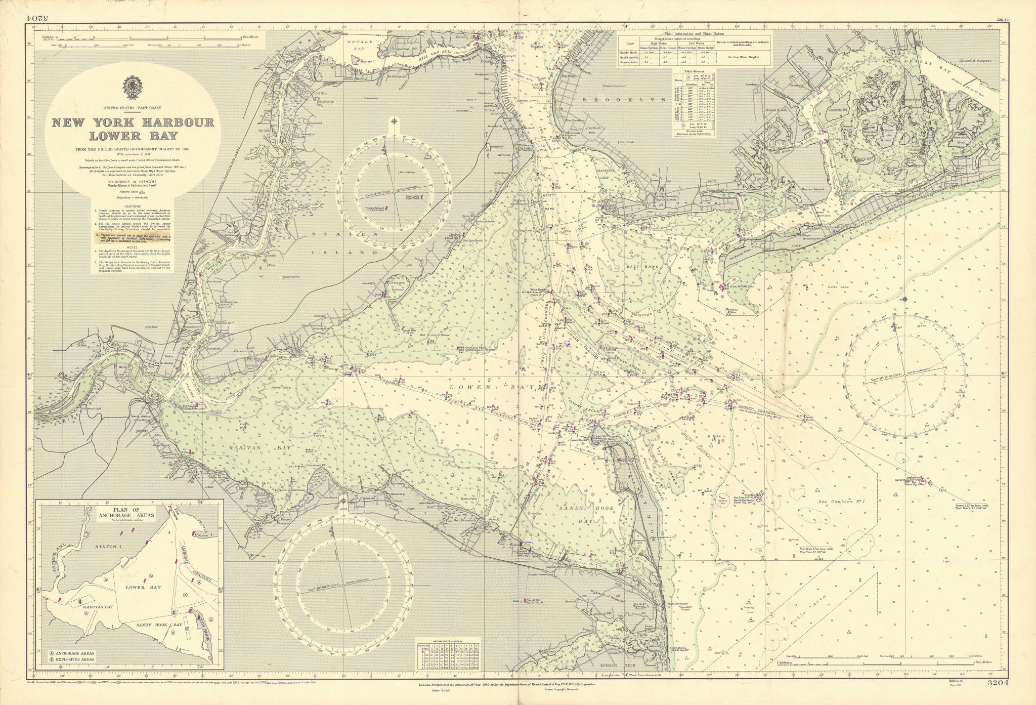 New York Harbor Lower Bay Brooklyn Staten Island ADMIRALTY chart 1950 (1956) map