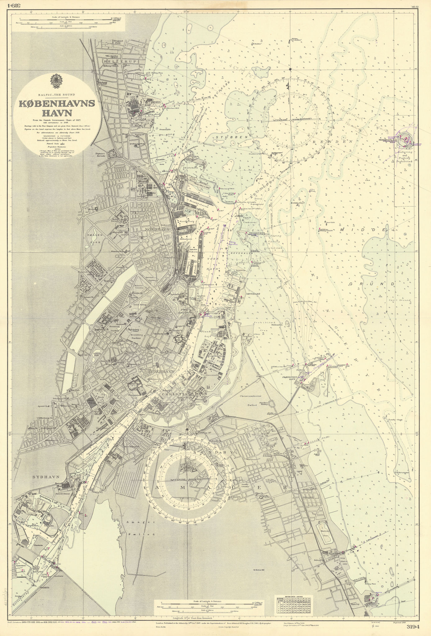 Københavns Havn Copenhagen Denmark ADMIRALTY sea chart city plan 1929 (1956) map
