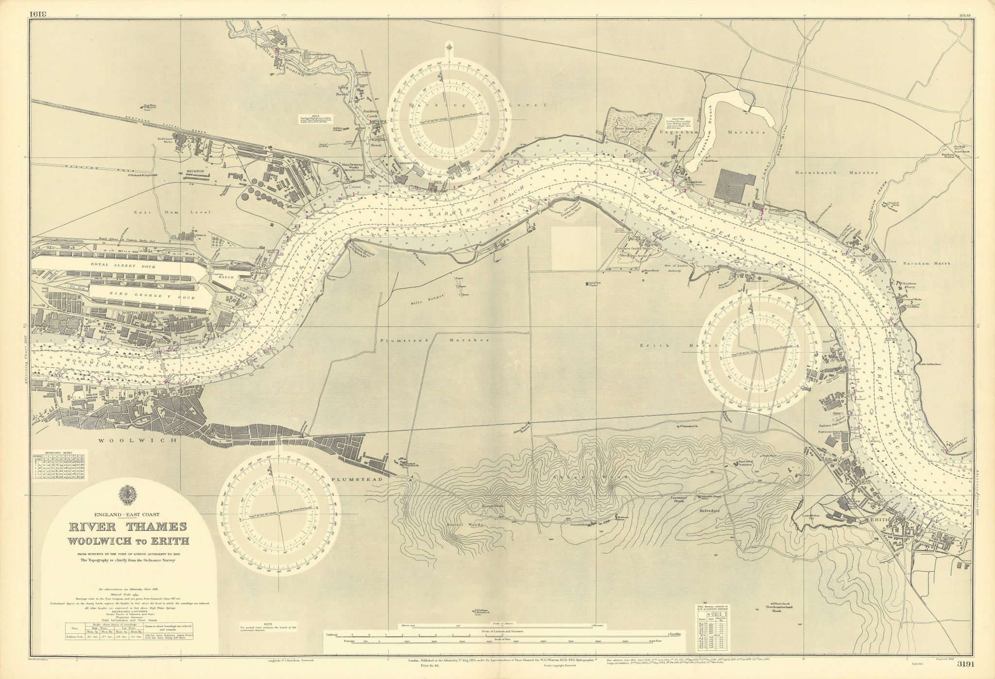 Thames Woolwich-Erith Royal Docks London ADMIRALTY sea chart 1901 (1953) map