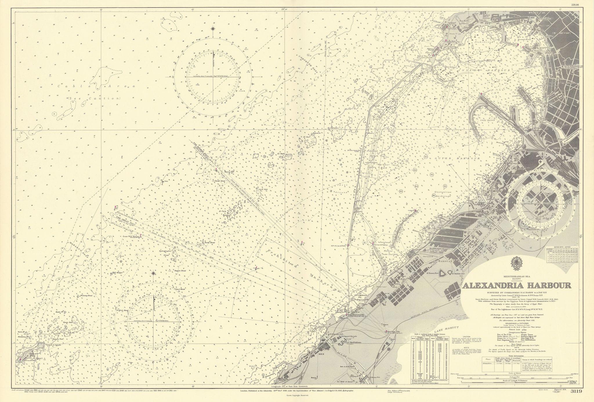 Alexandria harbour. Mediterranean Sea Egypt. ADMIRALTY sea chart 1938 (1954) map