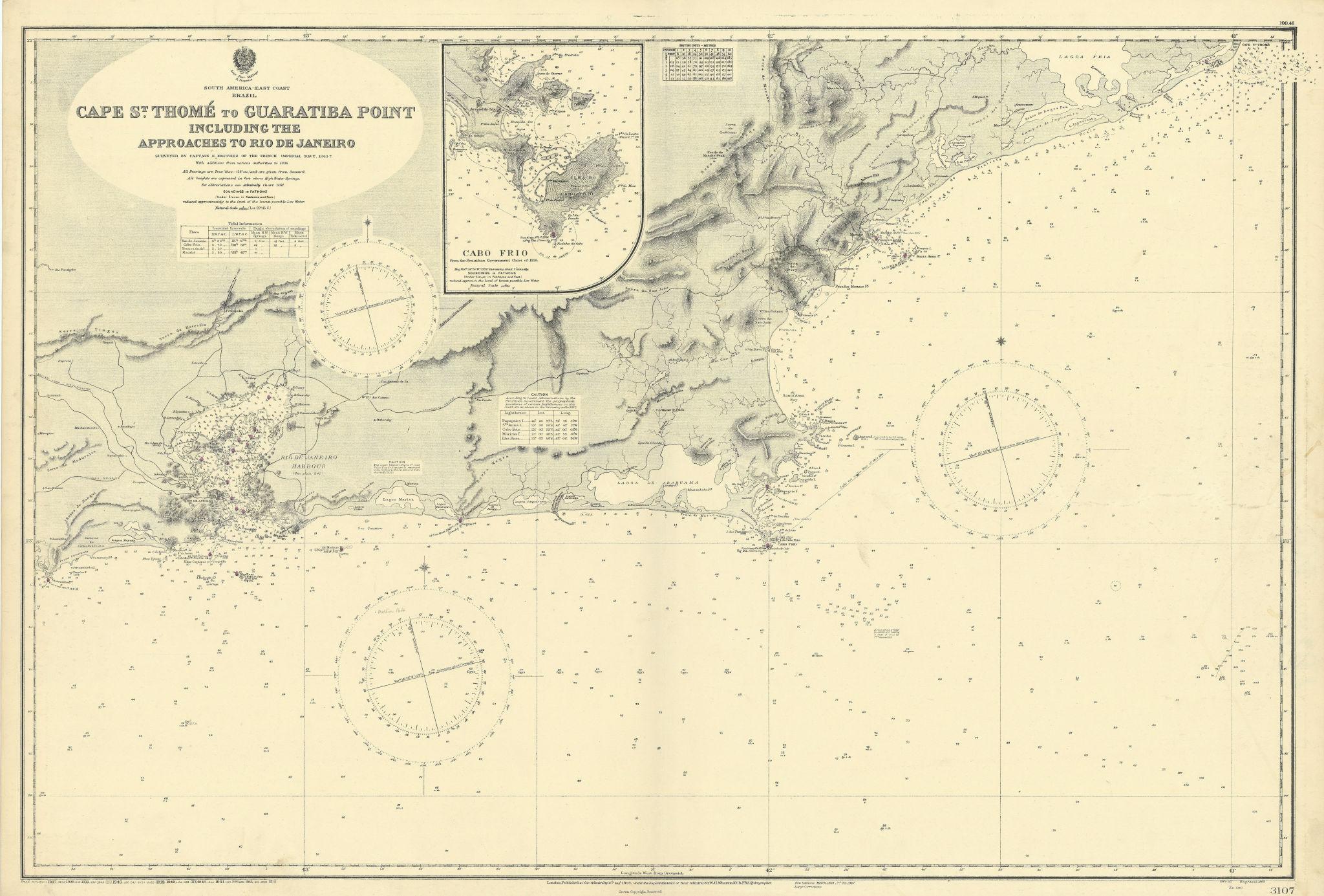 Rio de Janeiro coast & approaches. Brazil. ADMIRALTY sea chart 1899 (1945) map