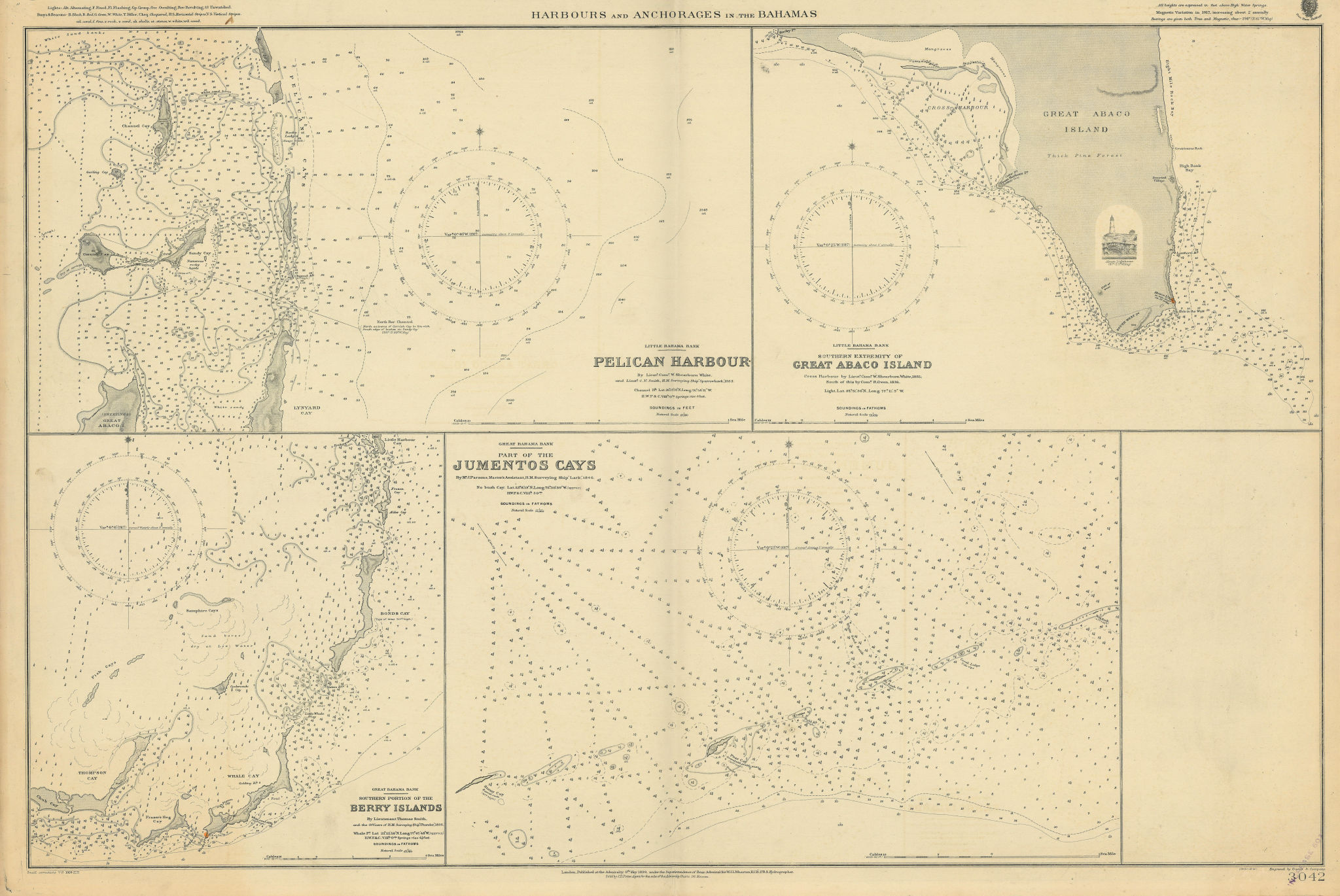 Bahamas harbours Pelican Abaco Berry I Jumentos ADMIRALTY chart 1899 (1920) map