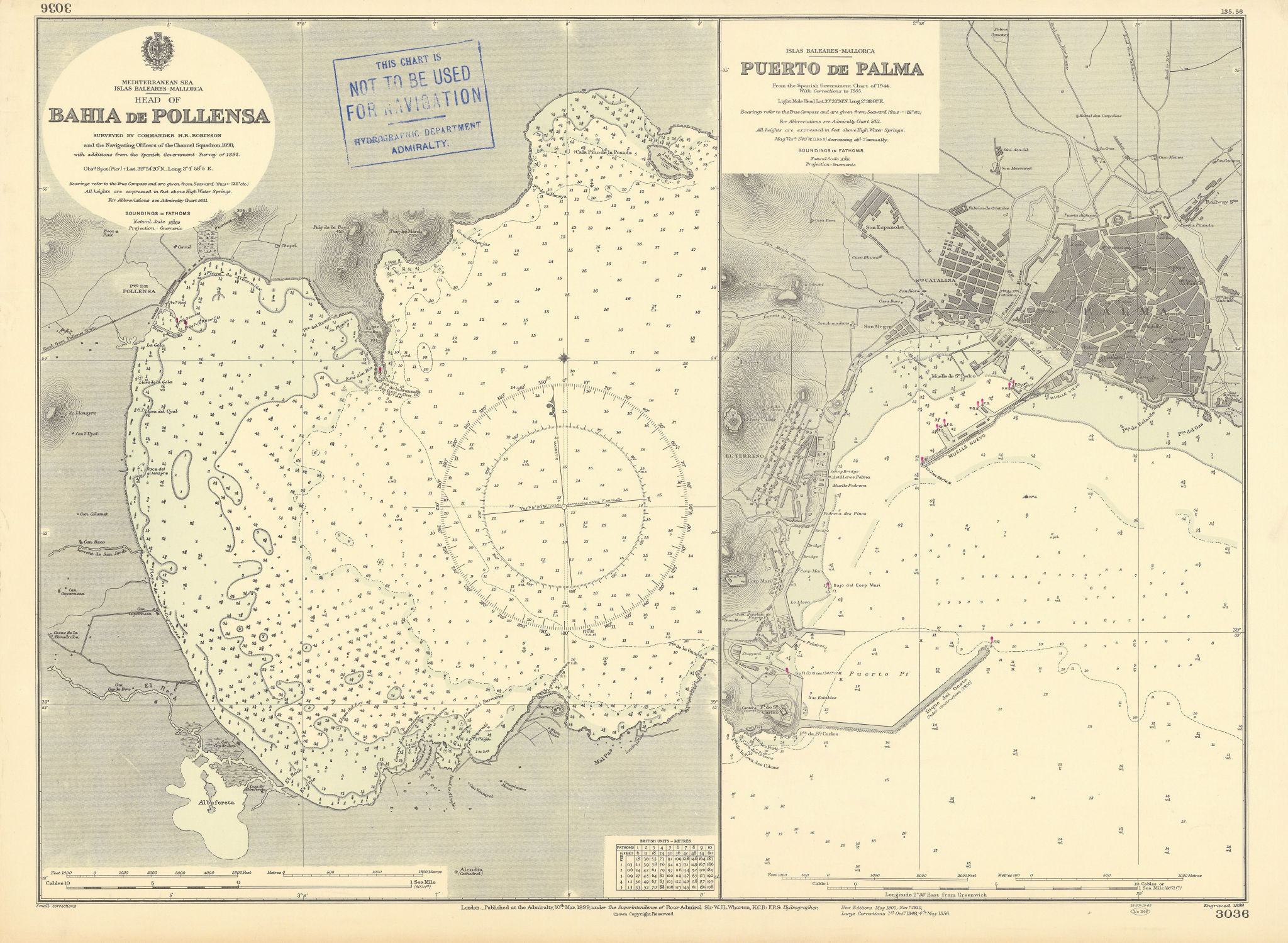 Mallorca Majorca ports Badia Pollença Palma ADMIRALTY sea chart 1899 (1956) map