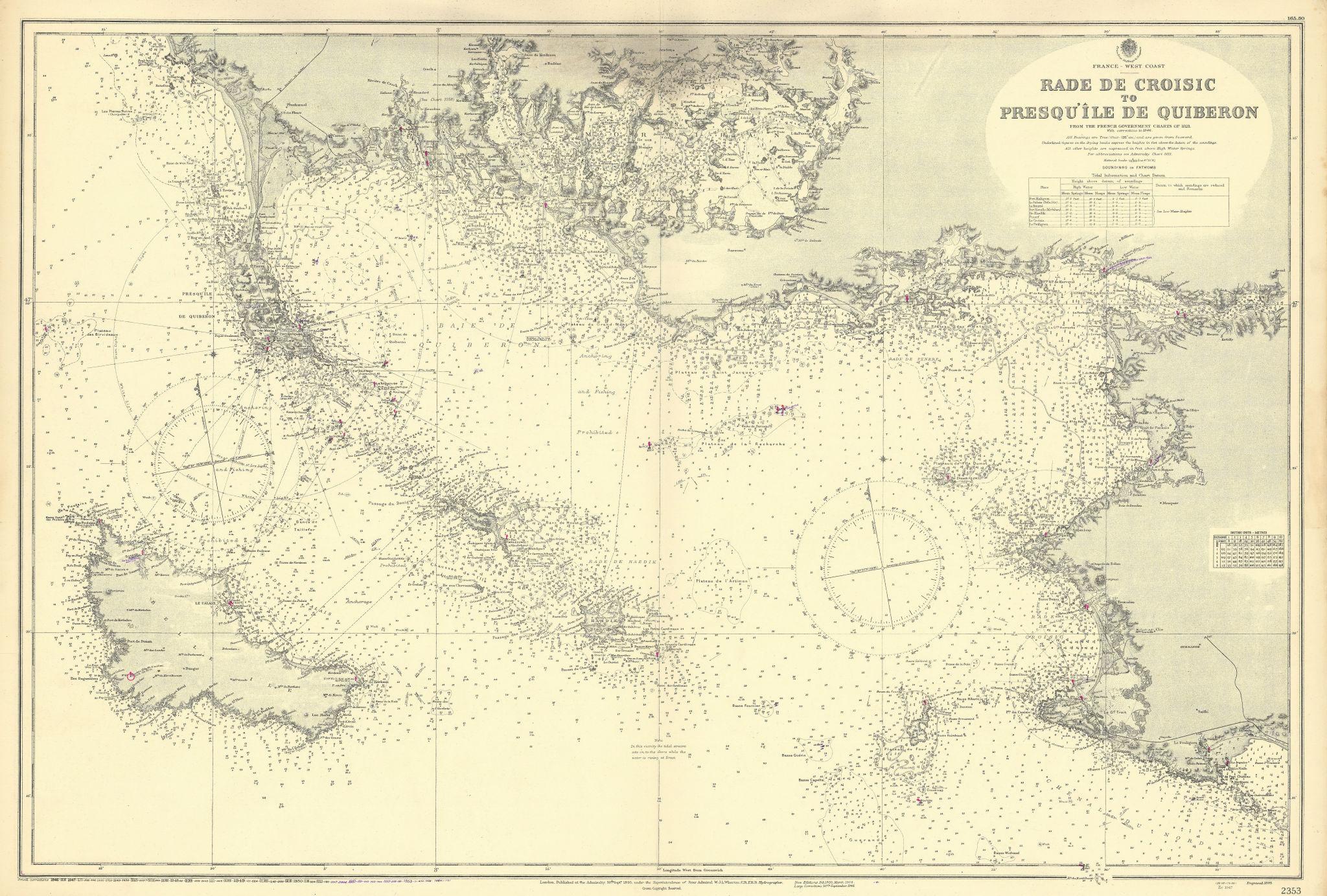 Loire-Atlantique Morbihan Quiberon Belle-Île ADMIRALTY chart 1895 (1954) map