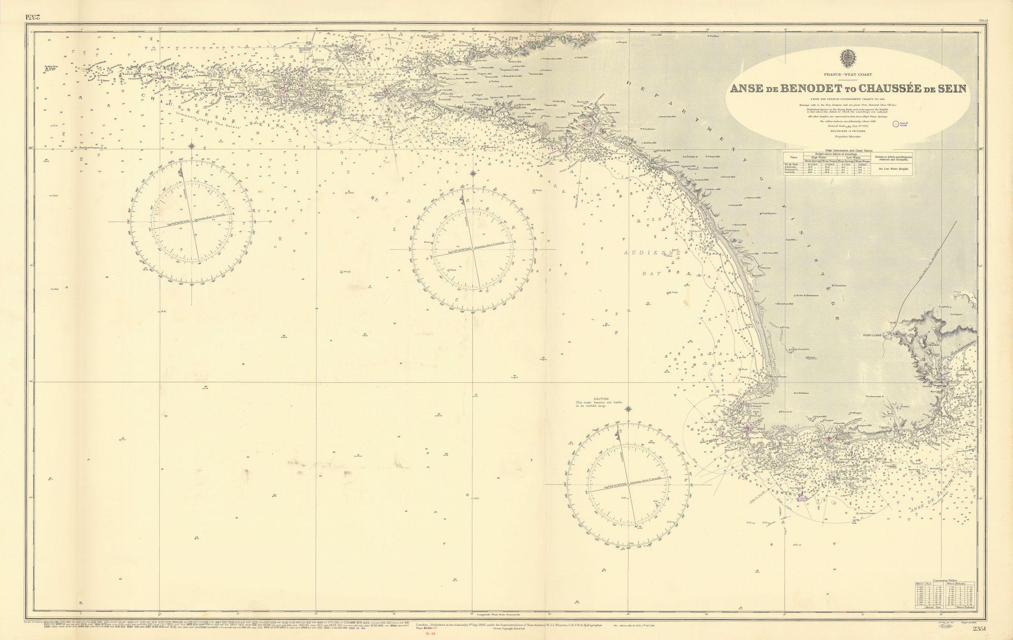 Finistère coast Anse de Benodet-Chaussée de Sein ADMIRALTY chart 1895 (1956) map