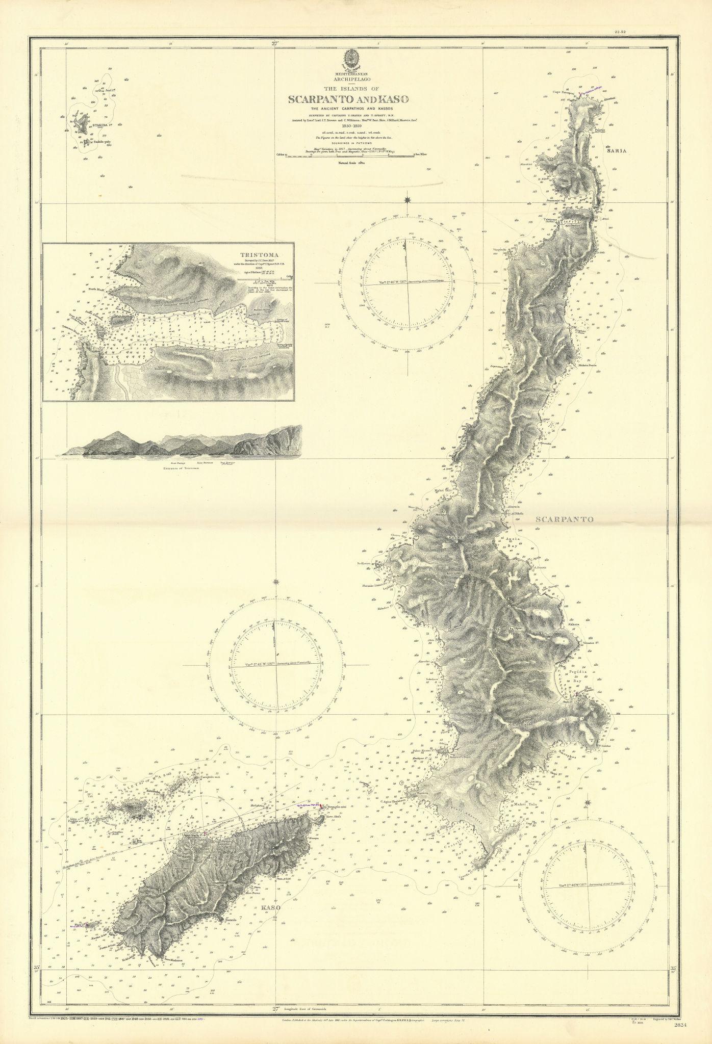 Karpathos Kasos. Tristoma Dodecanese Greece. ADMIRALTY sea chart 1861 (1952) map