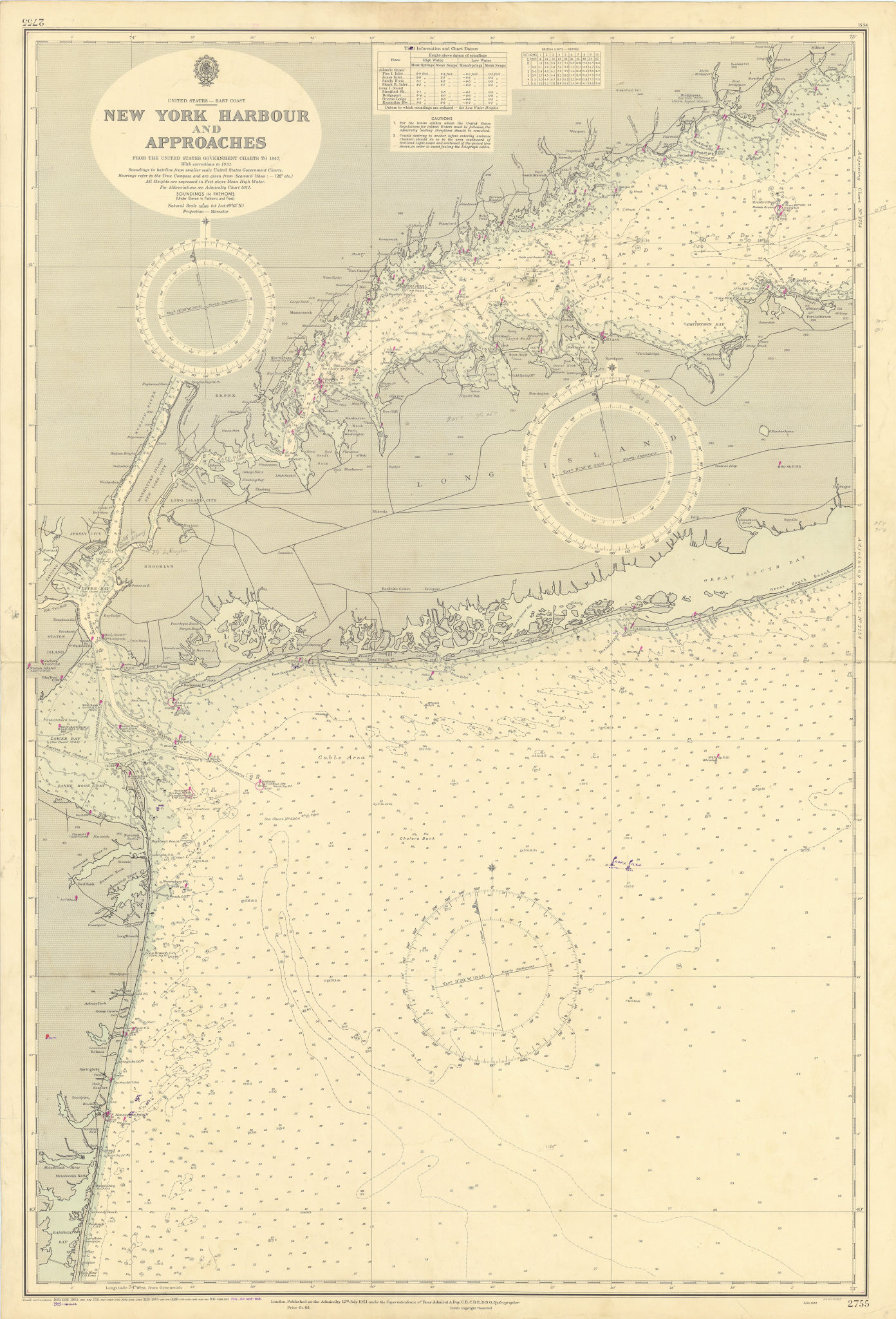 New York Harbor. Long Island. Jersey Shore. ADMIRALTY chart 1951 (1955) map