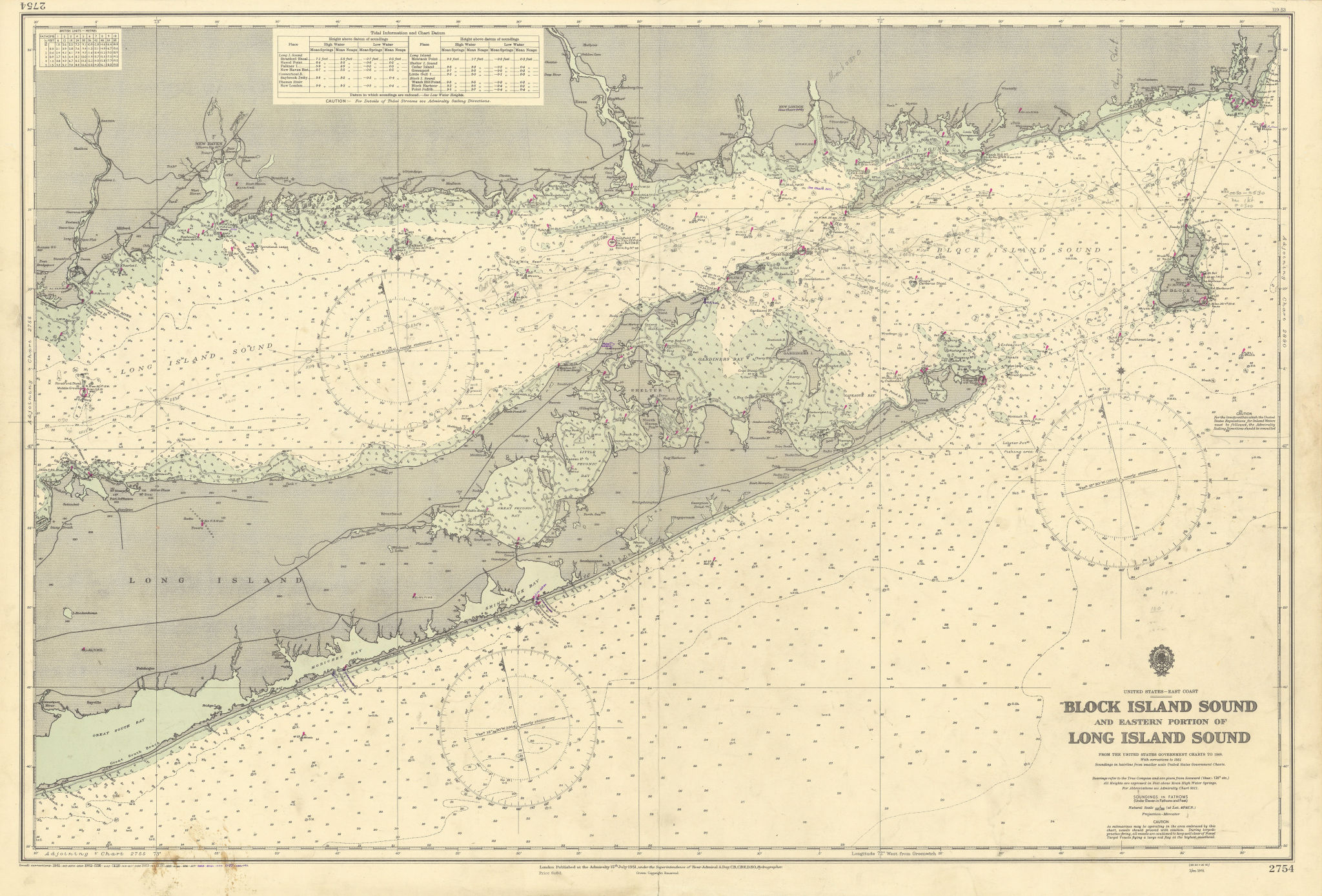 Long Island Block Island Sound Connecticut coast ADMIRALTY chart 1951 (1955) map