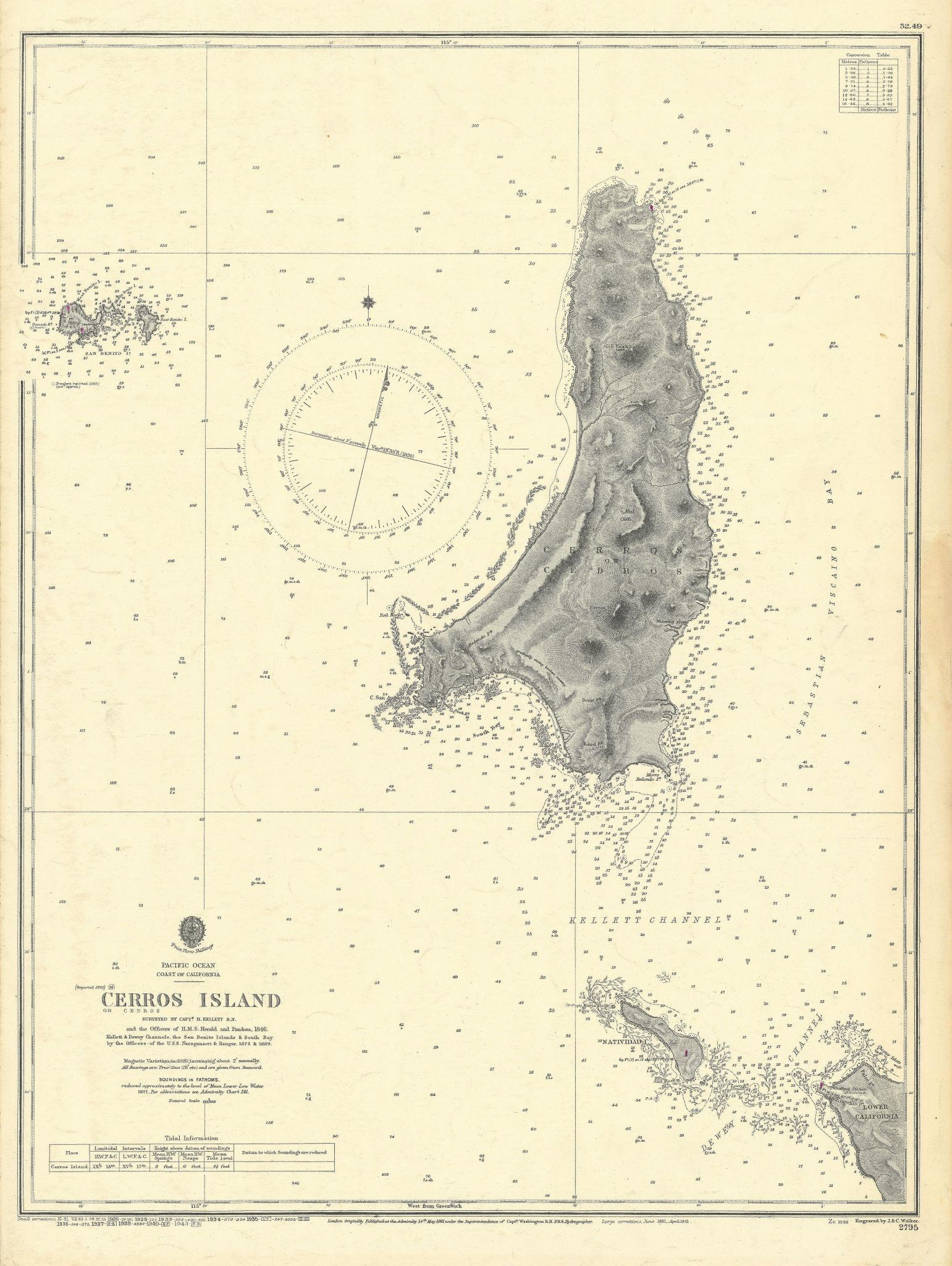 Cerros Island Isla Cedros Baja California Mexico ADMIRALTY chart 1861 (1943) map