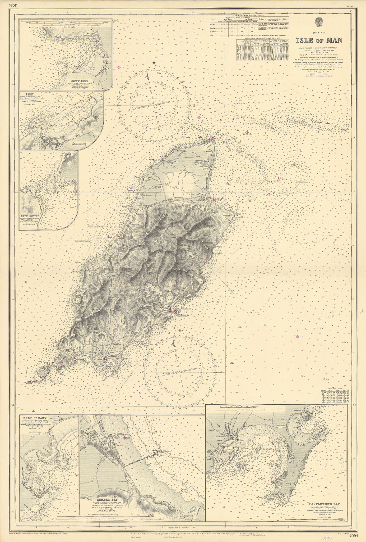 Isle of Man harbours Port Erin Ramsey Castletown ADMIRALTY chart 1883 (1955) map