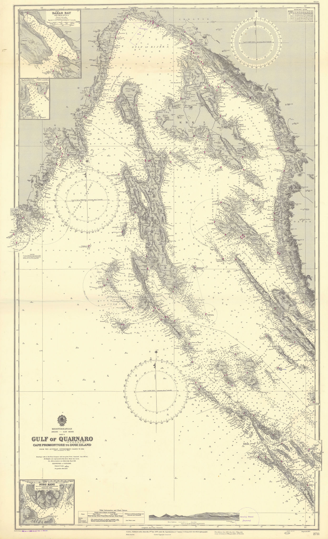 Quarnaro/Kvarner Gulf Croatia Dalmatia Krk Cres ADMIRALTY chart 1877 (1955) map