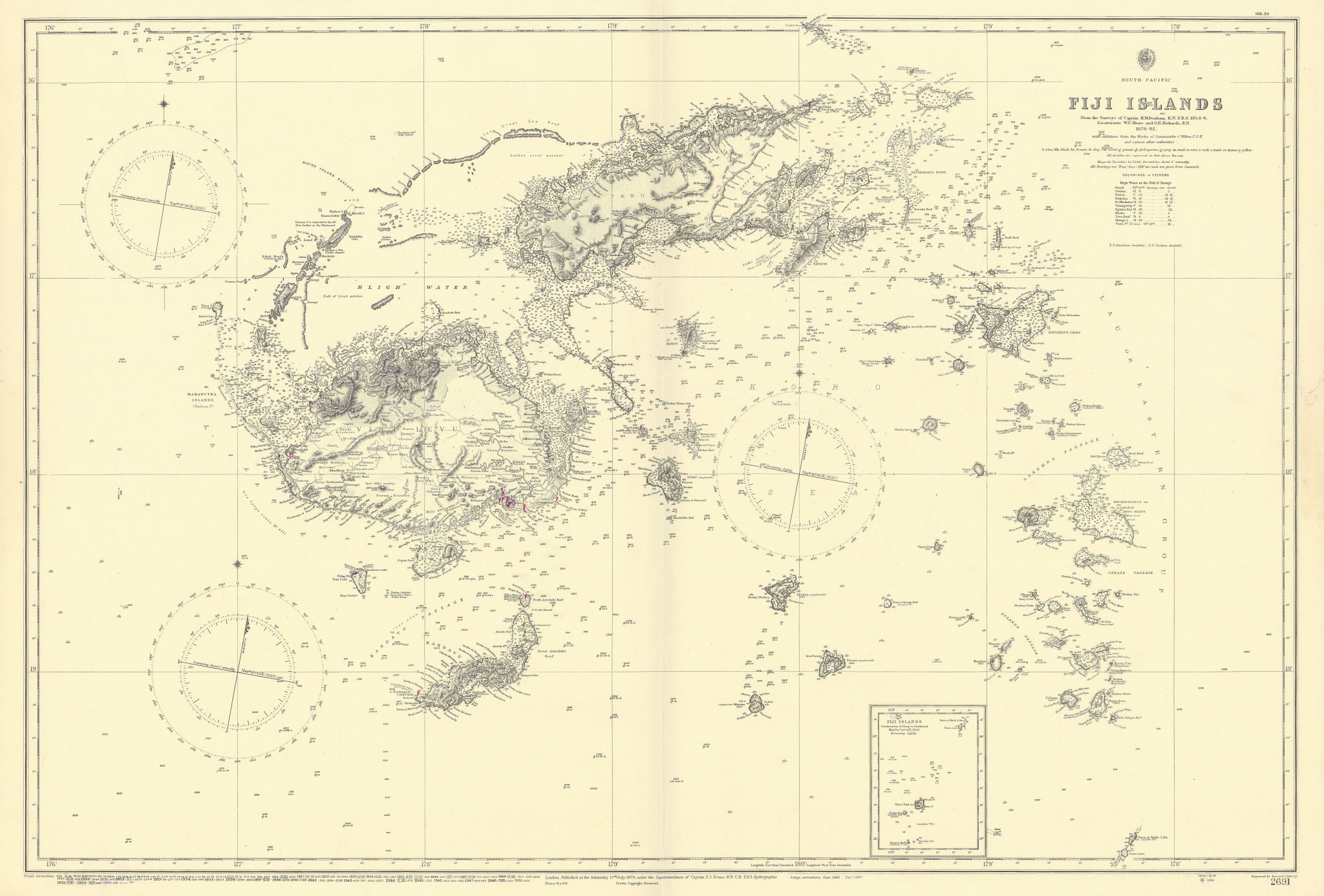 Fiji Islands, South Pacific. ADMIRALTY sea chart 1879 (1954) old vintage map