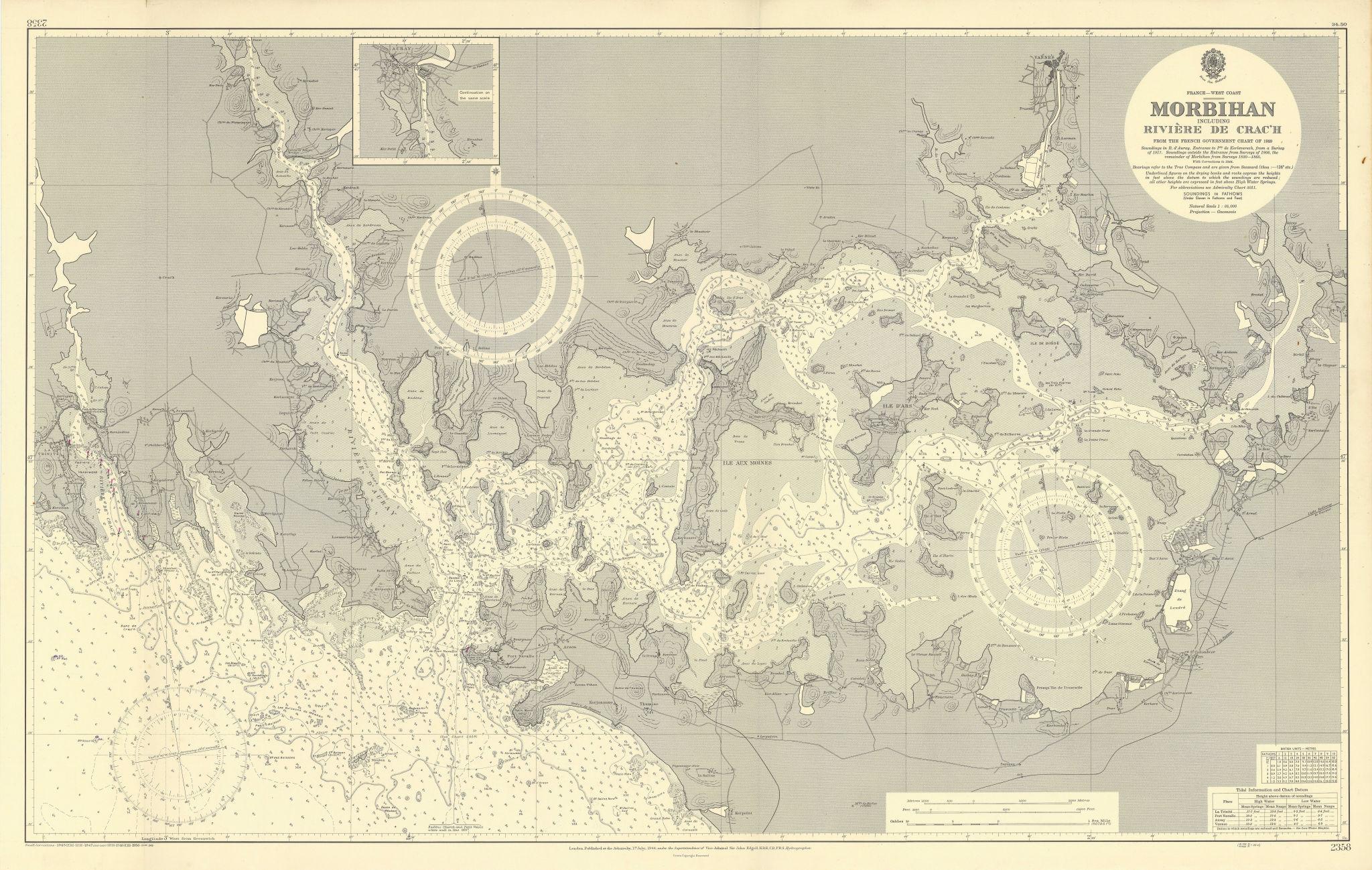 Gulf of Morbihan Rivière de Crac'h Vannes ADMIRALTY sea chart 1944 (1950) map