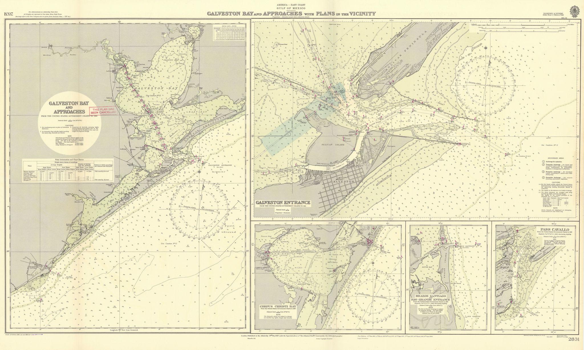 Galveston Bay approach Corpus Christi Texas ADMIRALTY sea chart 1923 (1955) map