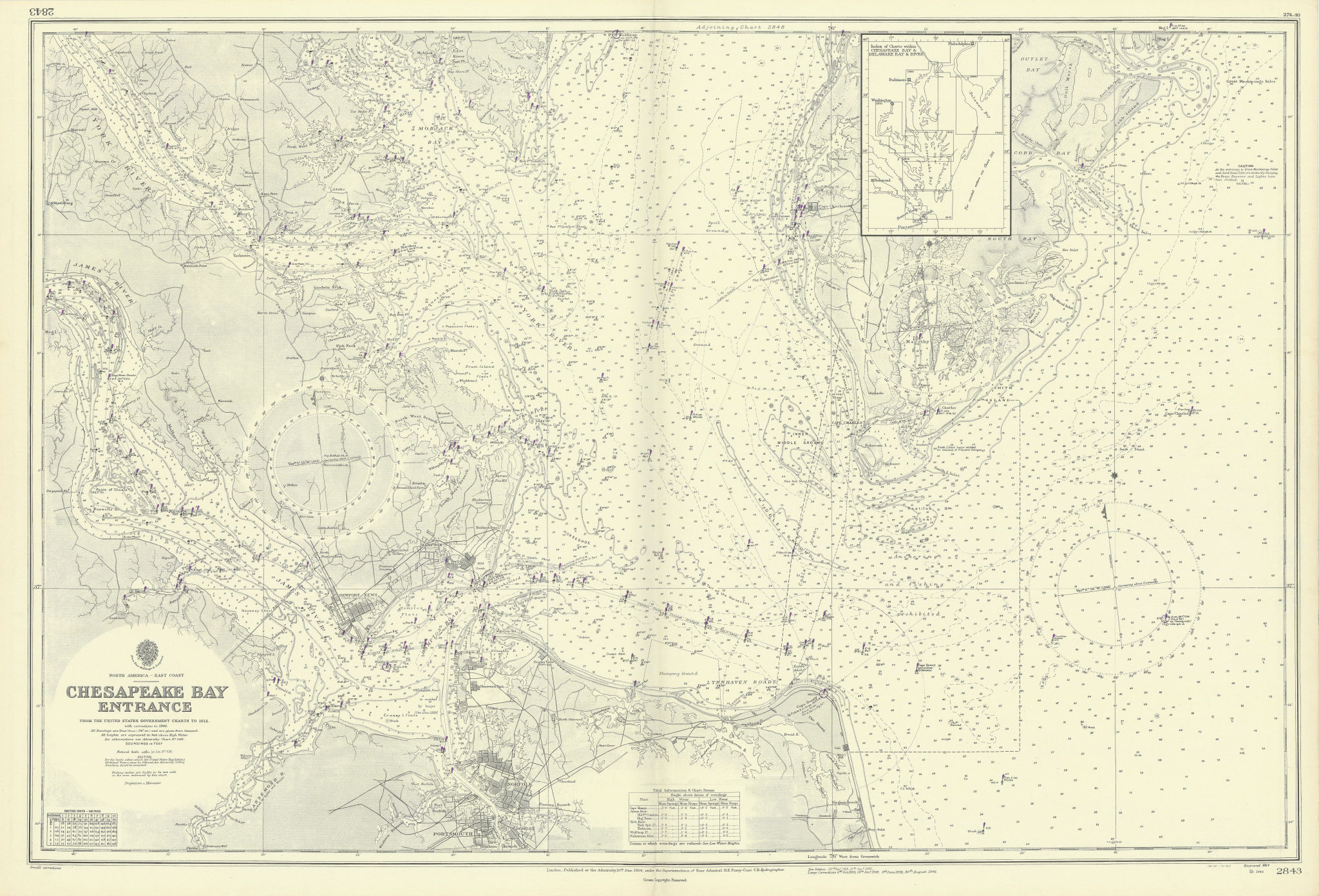 Chesapeake Bay entrance. Virginia Norfolk. ADMIRALTY sea chart 1914 (1946) map
