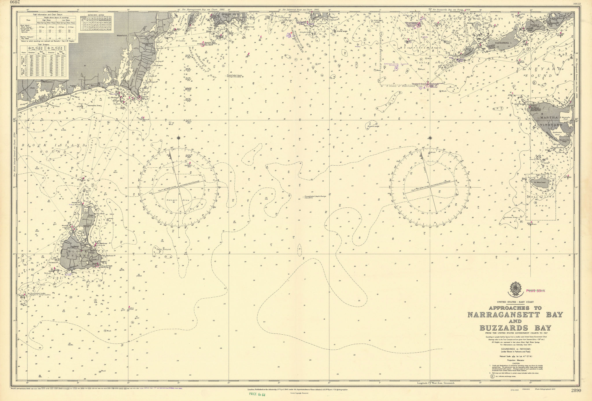 Narragansett Buzzards Bay approach Block Island ADMIRALTY chart 1948 (1956) map