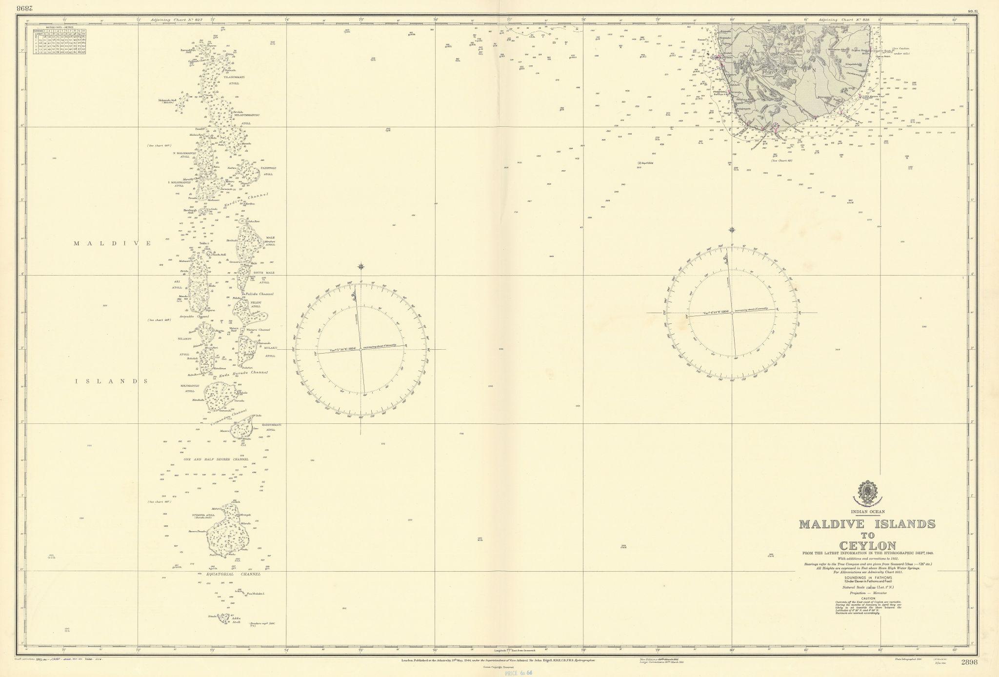 Maldives-Ceylon Indian Ocean Sri Lanka ADMIRALTY sea chart 1944 (1956) old map