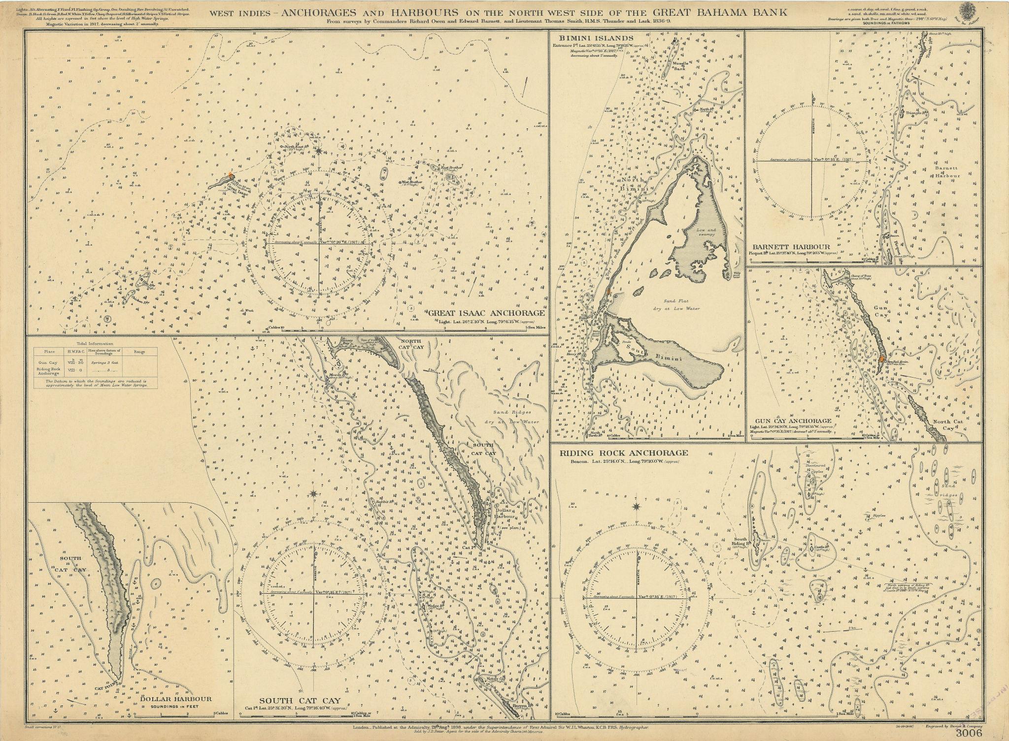 Great Bahama Bank anchorages Great Isaac Bimini ADMIRALTY chart 1898 (1917) map