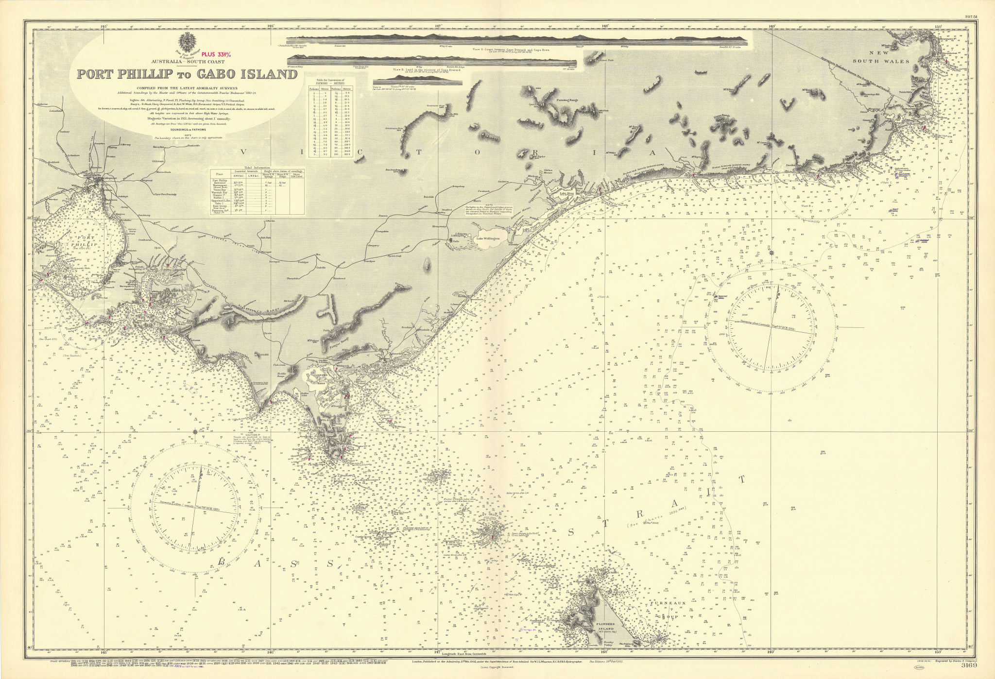Victoria coast Australia Melbourne Bass Strait ADMIRALTY chart 1902 (1954) map
