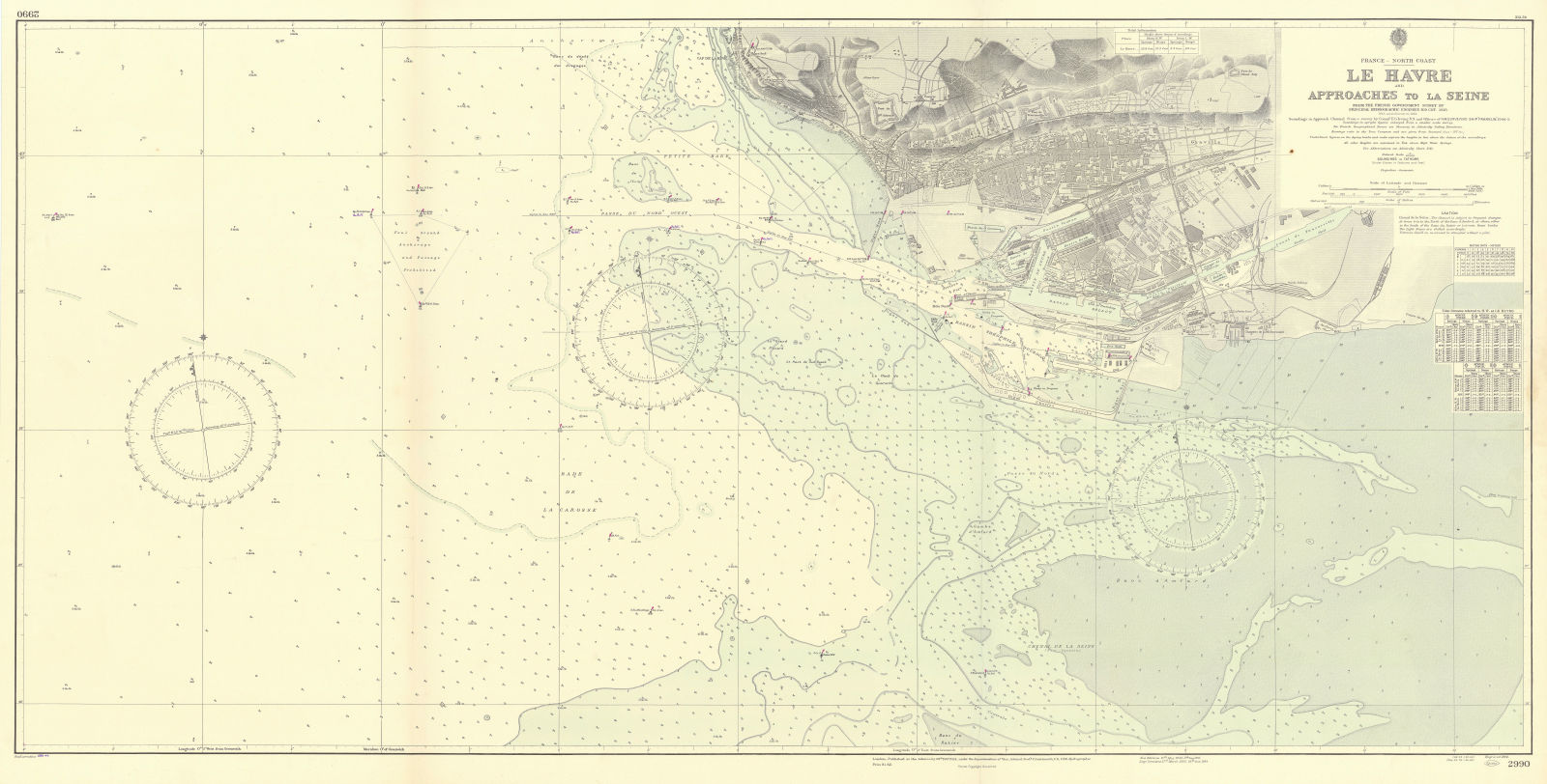 Le Havre & Seine approaches. Seine-Maritime. ADMIRALTY sea chart 1924 (1955) map