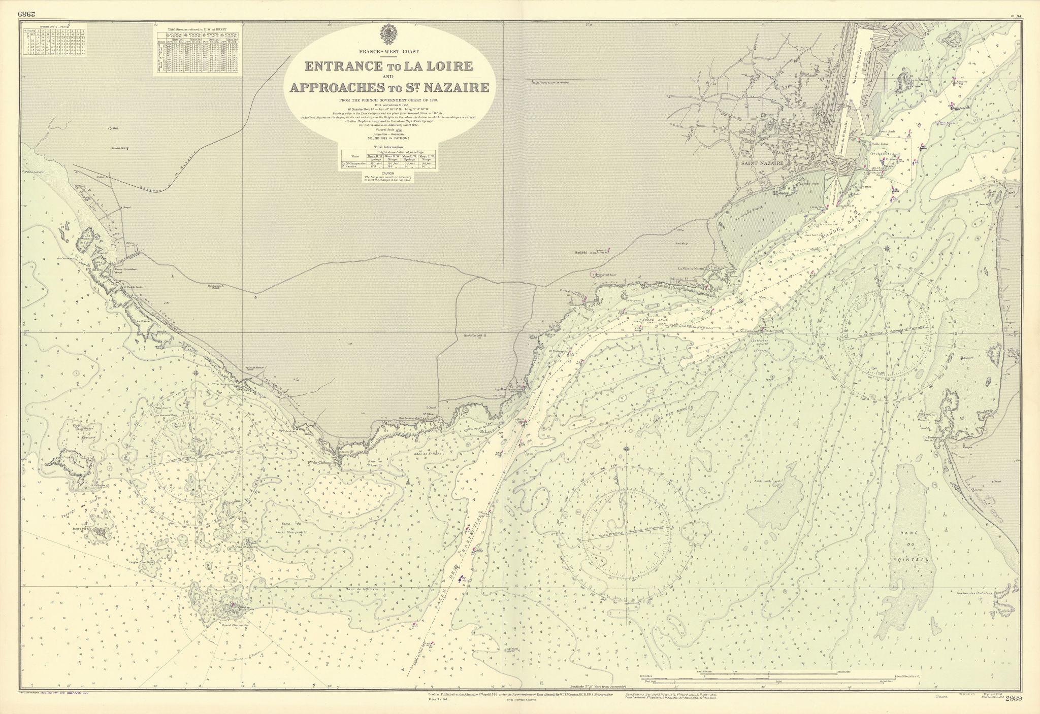 Loire estuary St Nazaire approaches La Baule ADMIRALTY sea chart 1898 (1954) map