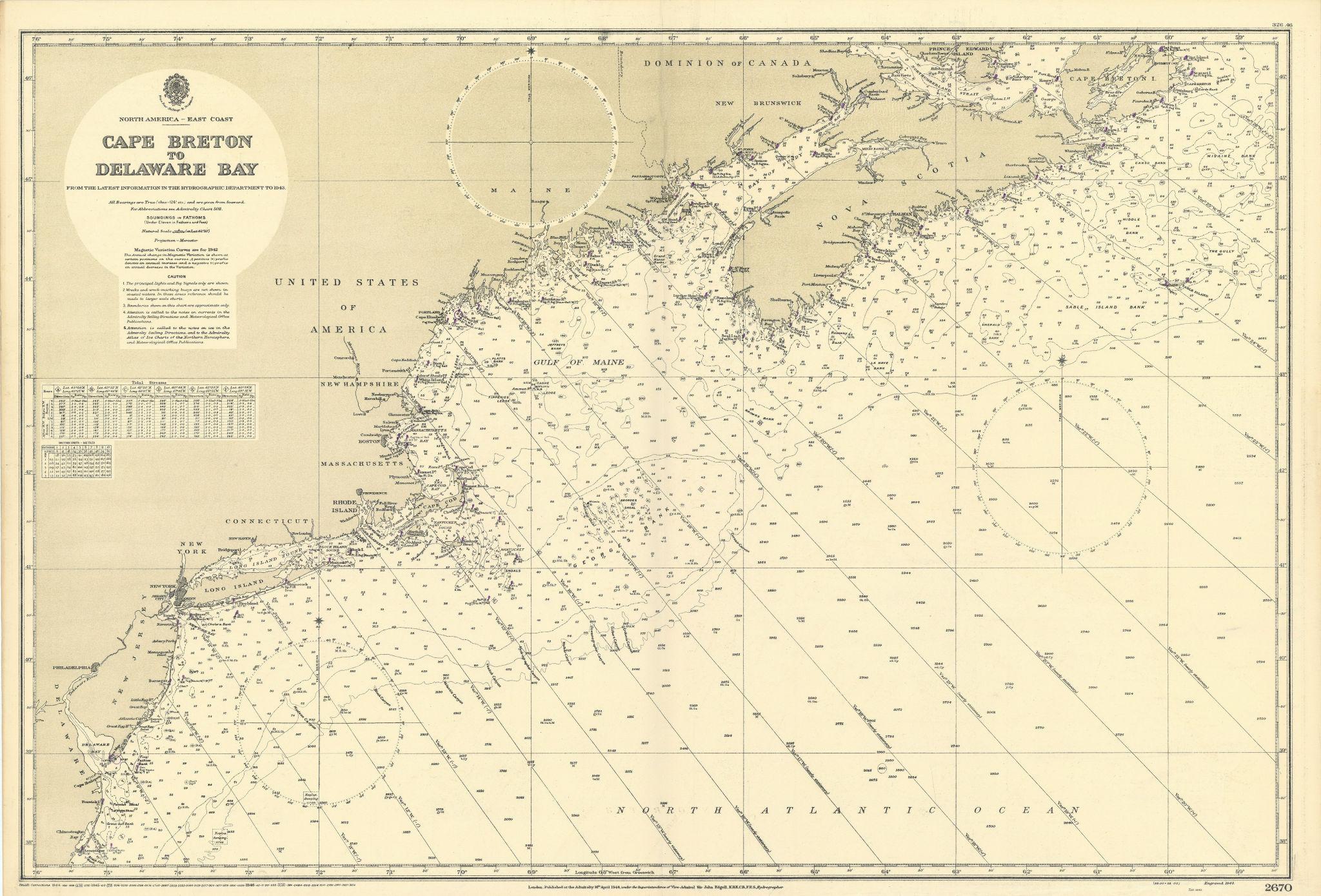 North America east coast Cape Breton-Delaware ADMIRALTY chart 1944 (1946) map