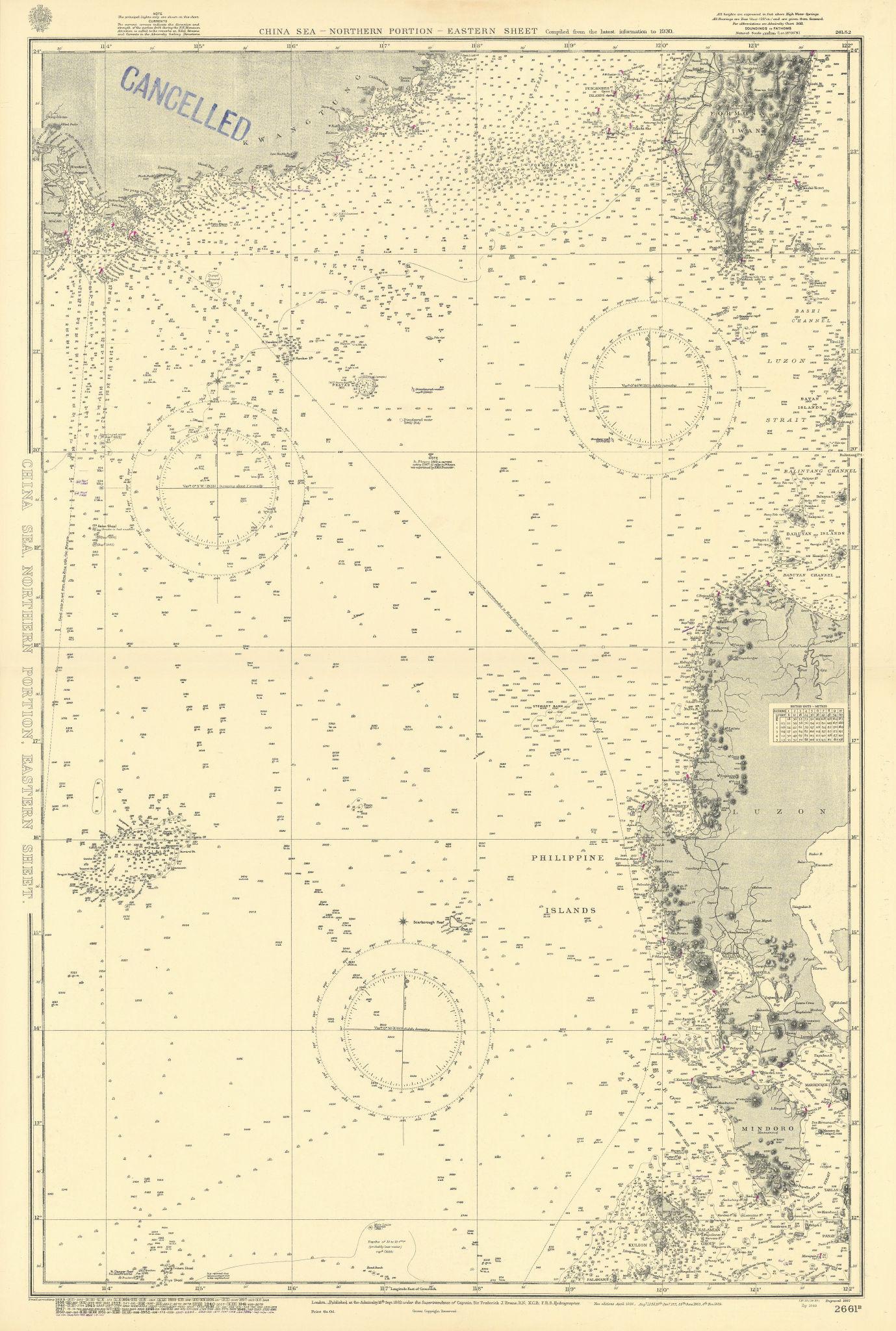 South China Sea Taiwan Luzon Guangdong Hong Kong ADMIRALTY chart 1882 (1955) map