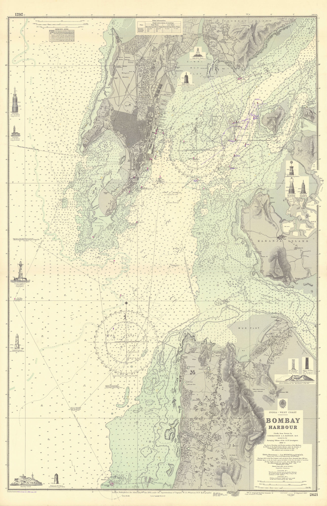 Bombay Harbour. Mumbai, India. ADMIRALTY sea chart 1885 (1956) old vintage map