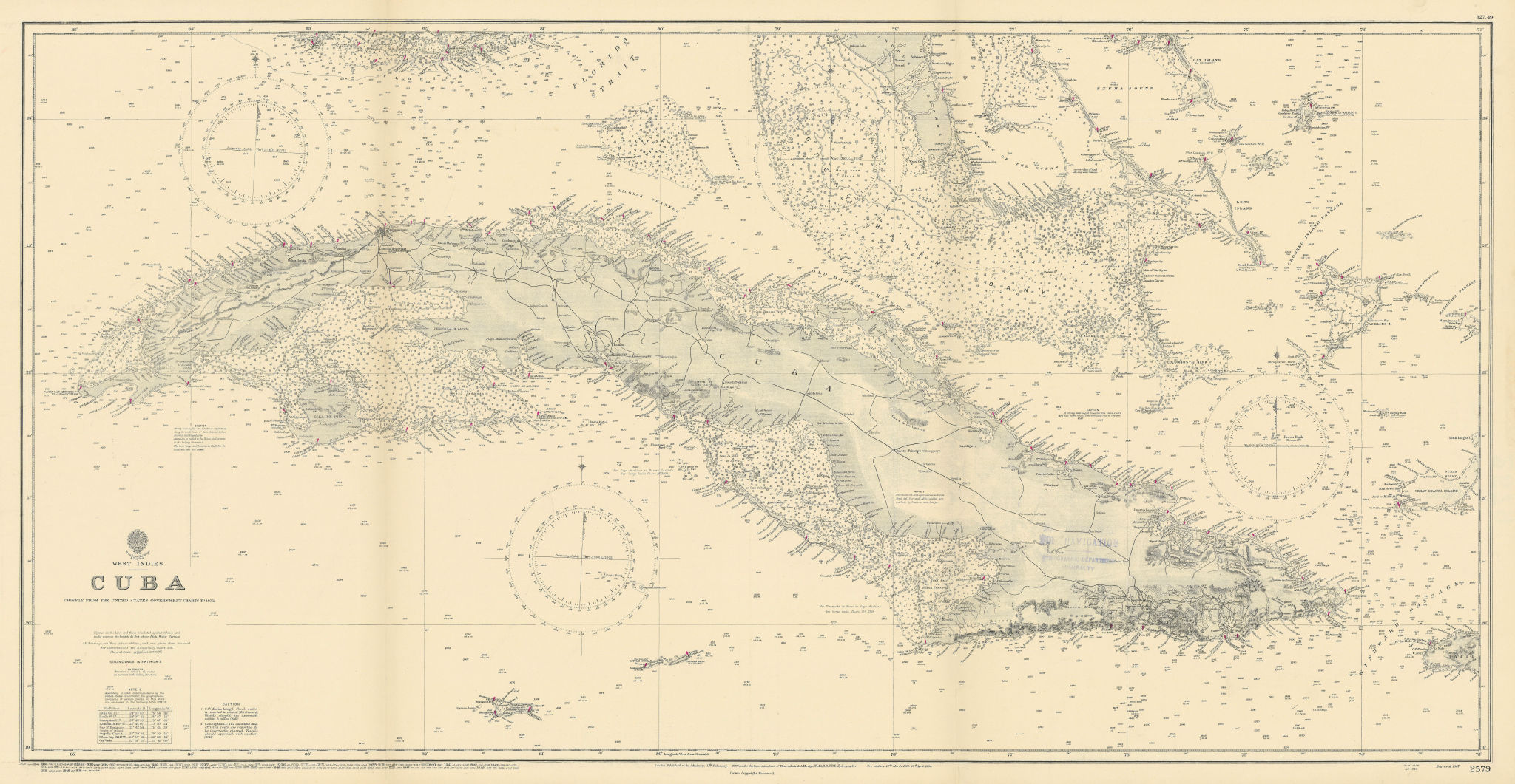 Cuba Bahamas Cayman Islands. Caribbean. ADMIRALTY sea chart 1907 (1949) map