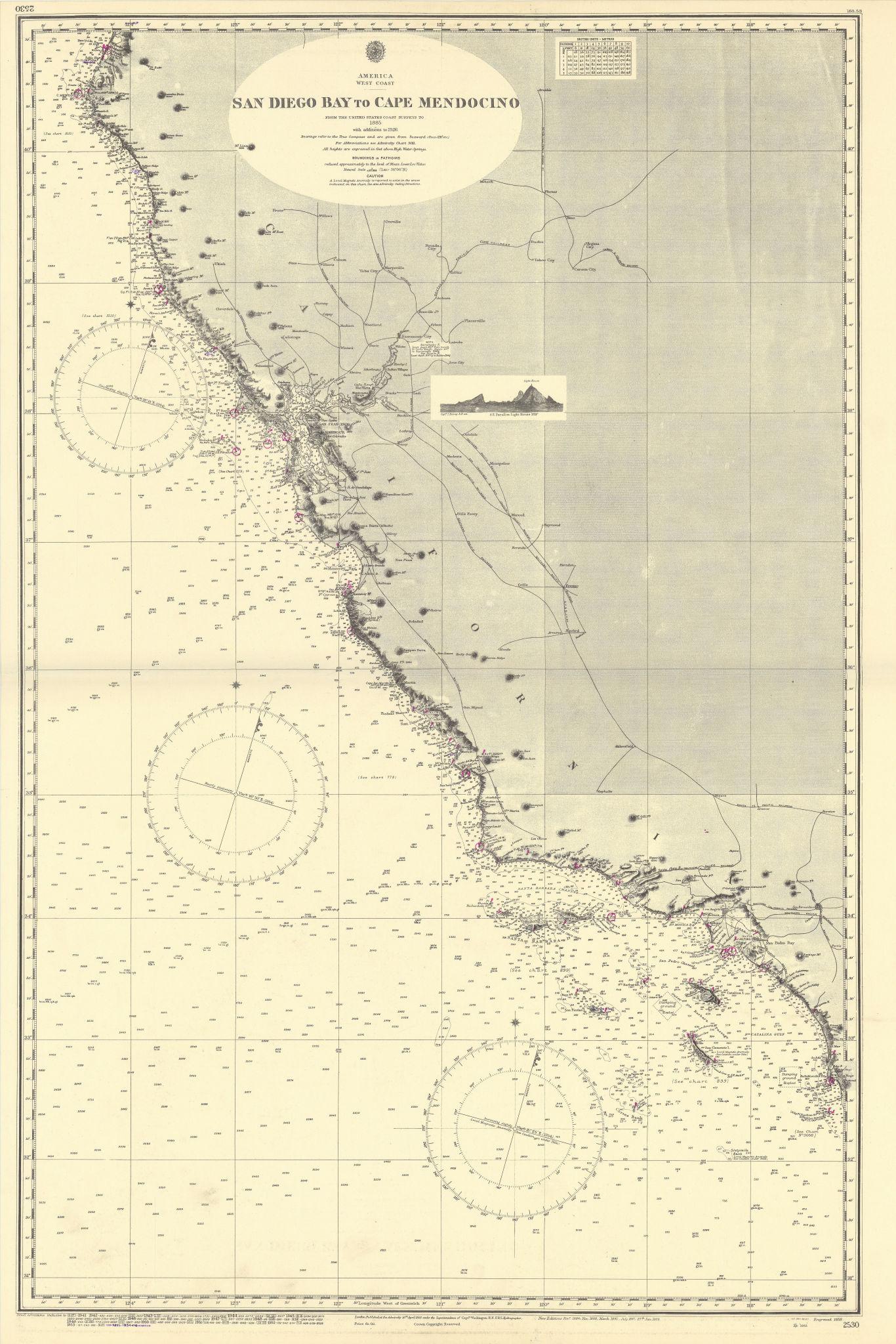 California coast. San Diego-Cape Mendocino ADMIRALTY sea chart 1858 (1954) map