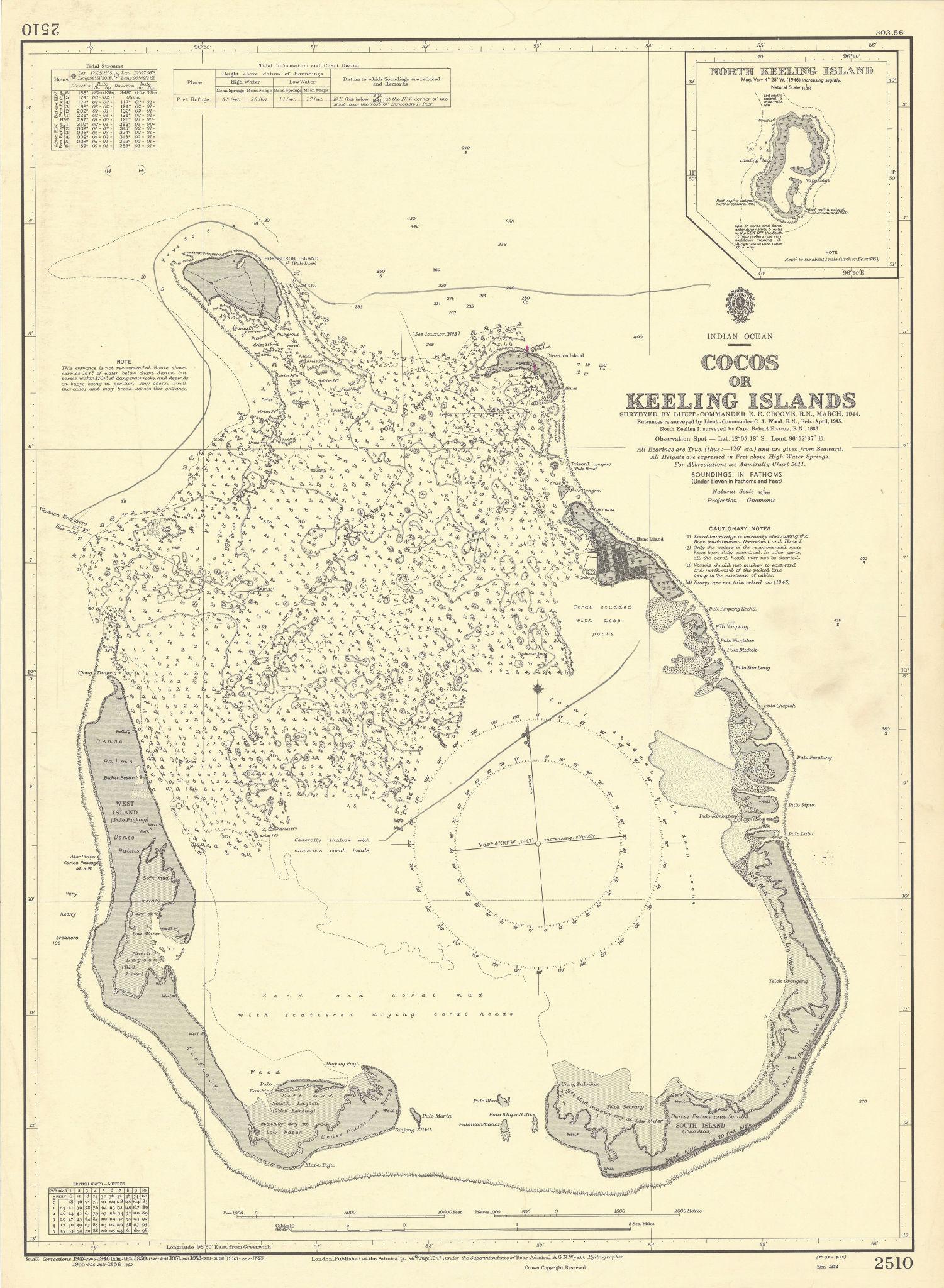 Cocos/Keeling Islands Indian Ocean Australia ADMIRALTY sea chart 1947 (1956) map