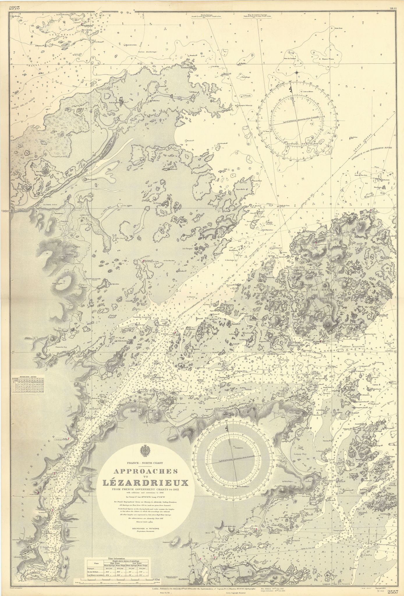 Lézardrieux approach Côtes-d'Armor Brittany ADMIRALTY sea chart 1894 (1953) map