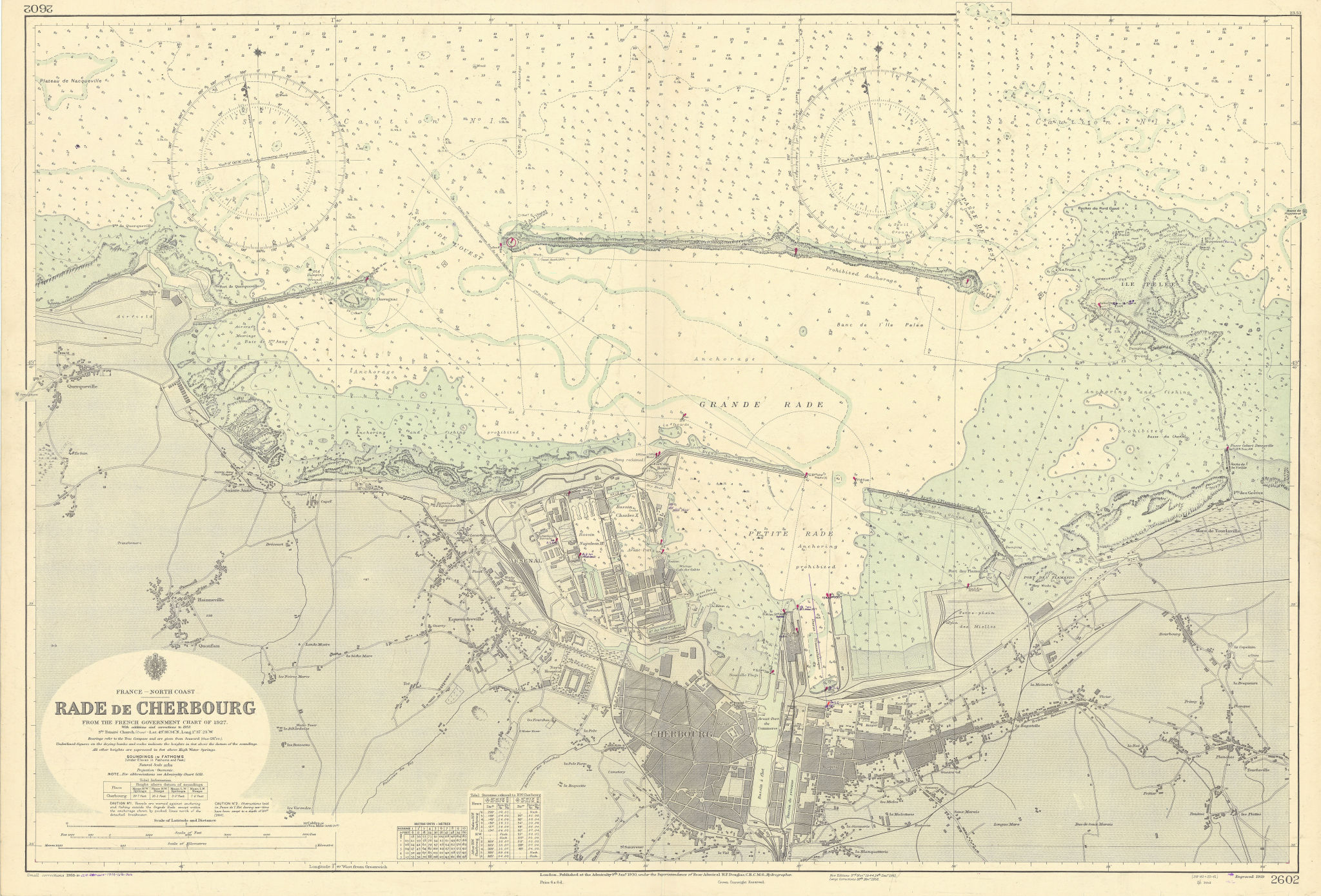 Rade de Cherbourg. Manche France. ADMIRALTY sea chart 1930 (1954) old map