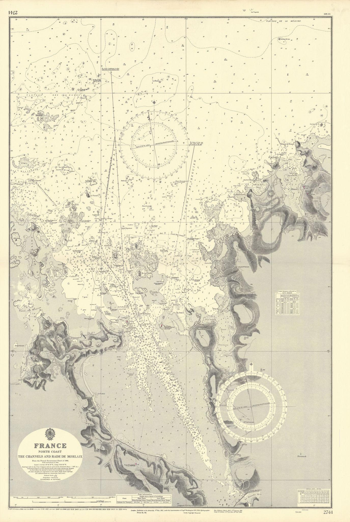 Channels & Rade de Morlaix. Finistère France ADMIRALTY sea chart 1861 (1953) map