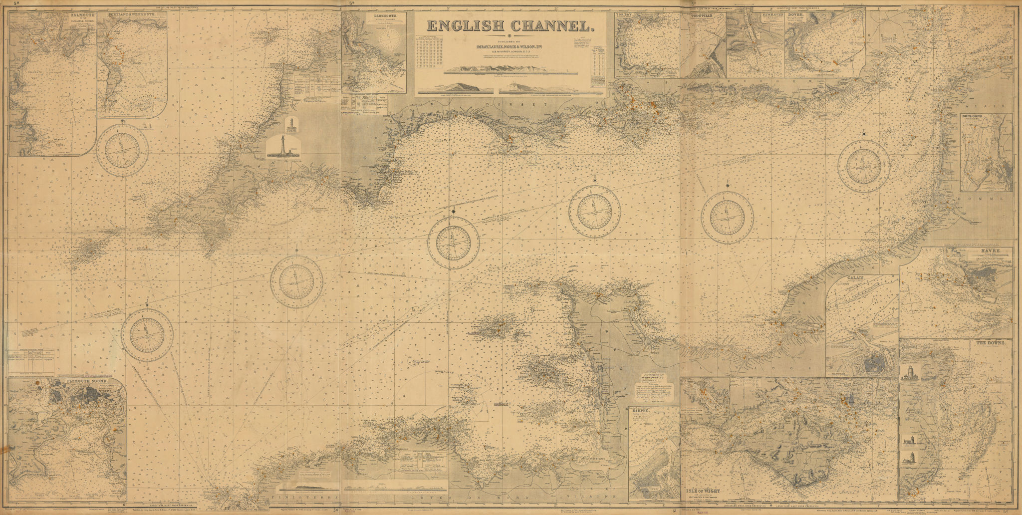 English Channel 105x210cm. Imray Laurie Norie & Wilson sea chart 1939 (1939) map