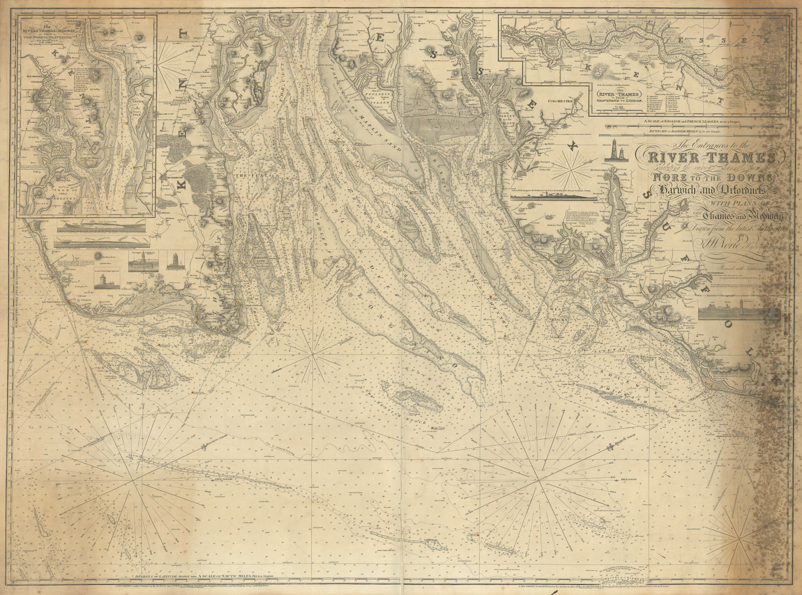 """""""The entrance to the River Thames…"""" Norie & Wilson sea chart 1842 (1842) map"""