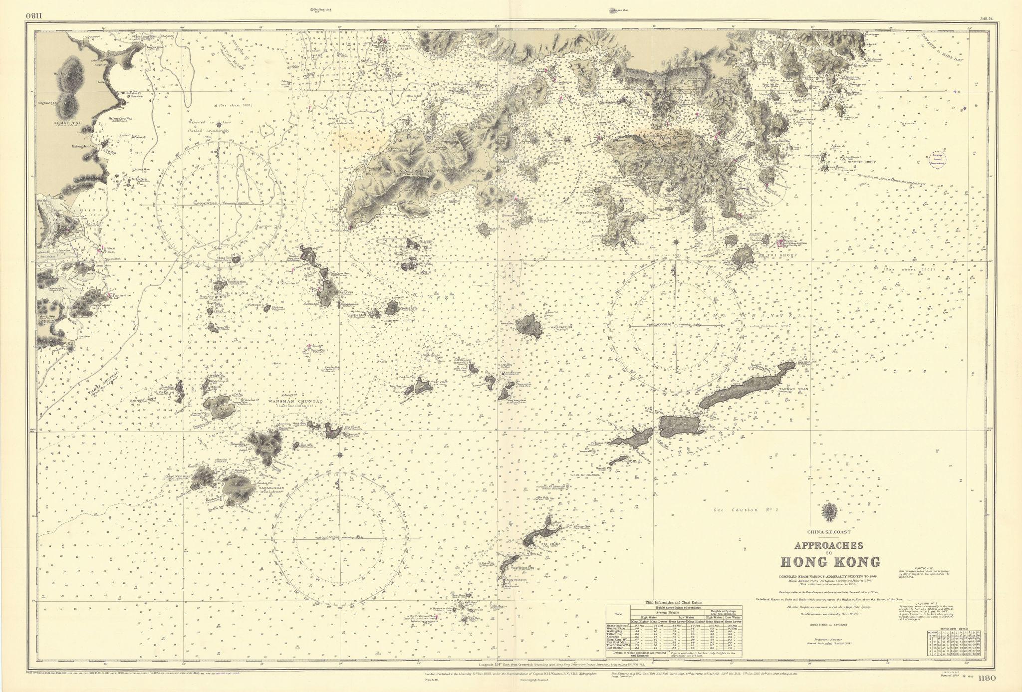 Hong Kong approaches Macao Pearl River China ADMIRALTY sea chart 1888 (1955) map