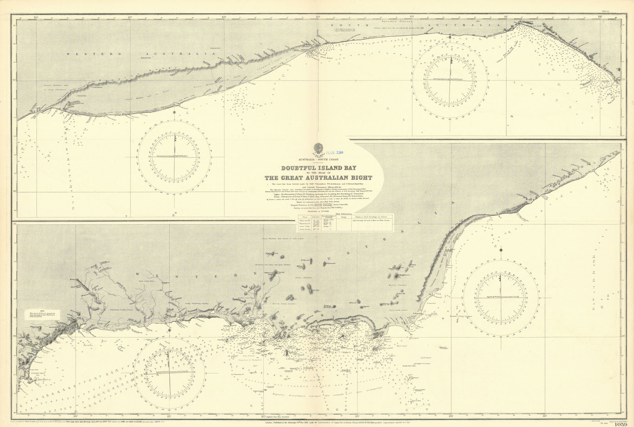 Great Australian Bight Goldfields-Esperance ADMIRALTY chart 1881 (1954) map