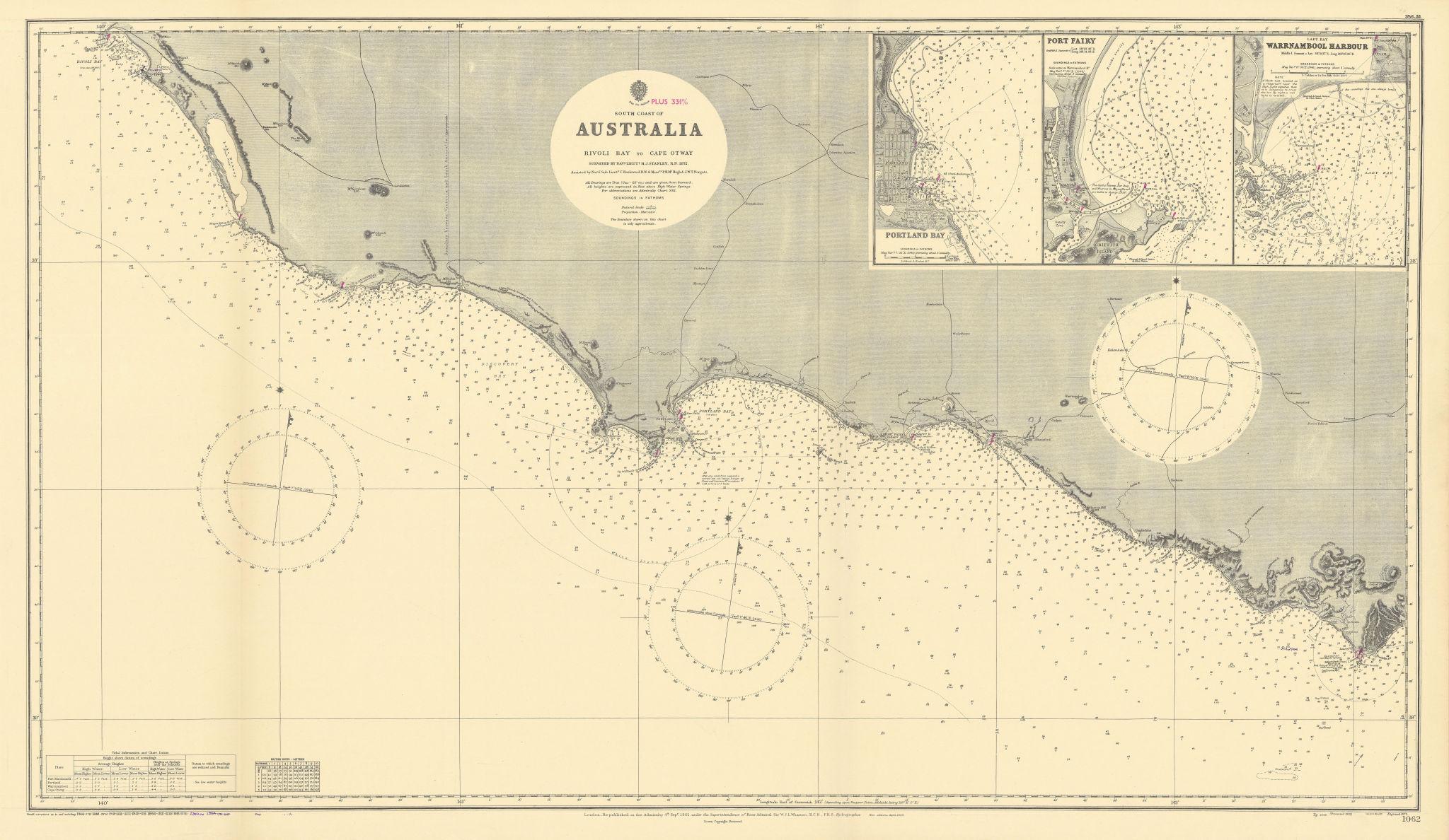 Victoria coast Australia Rivoli Bay-Cape Otway ADMIRALTY chart 1901 (1954) map