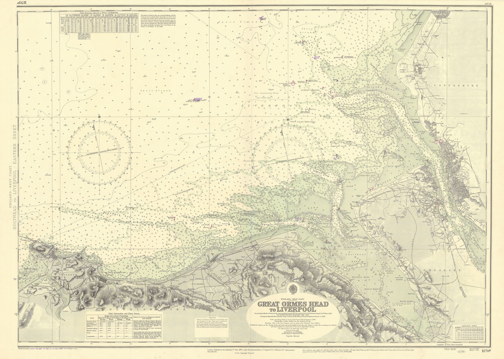 Liverpool Bay Wirral Dee Merseyside North Wales ADMIRALTY chart 1886 (1956) map
