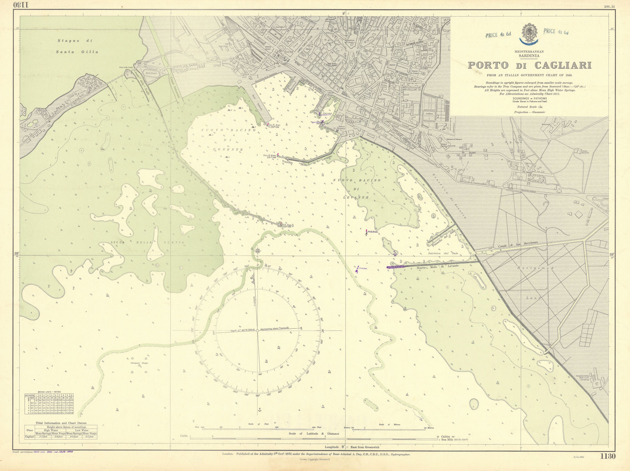 Porto di Cagliari, Sardinia. Mediterranean. ADMIRALTY sea chart 1951 (1956) map