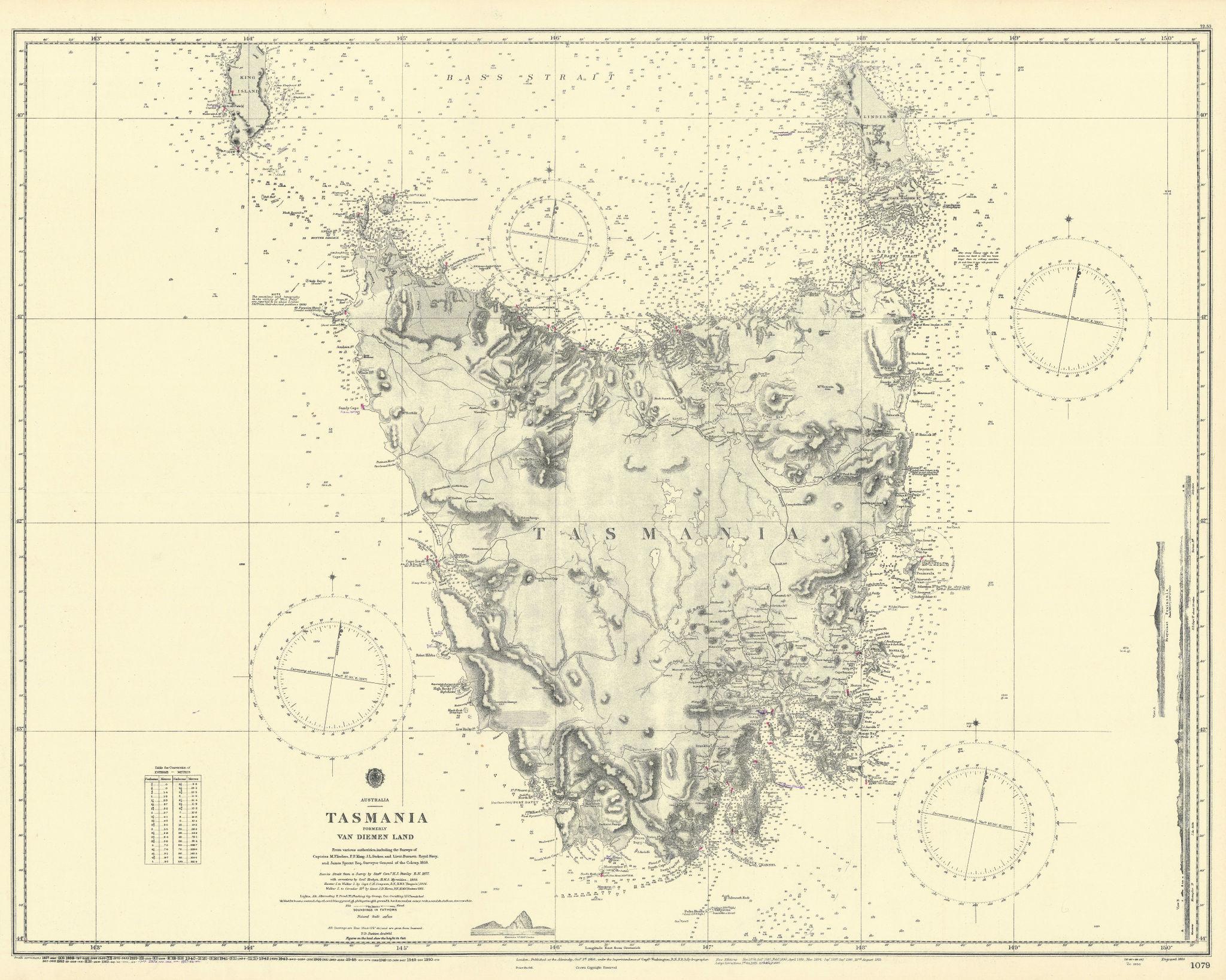 Tasmania / Van Diemen Land. Australia. ADMIRALTY sea chart 1860 (1955) old map