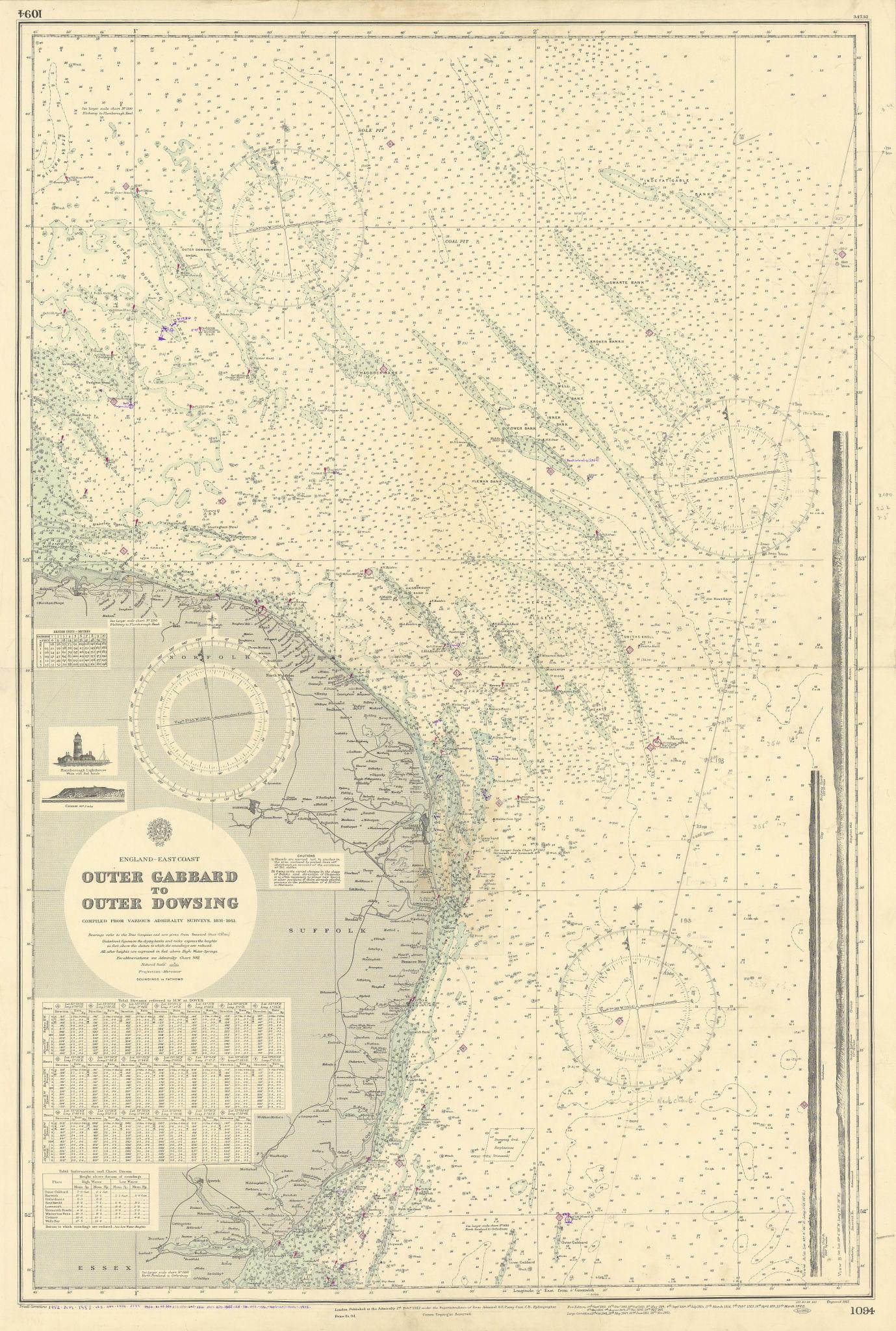 East Anglia coast. Norfolk Suffolk Essex. ADMIRALTY sea chart 1912 (1955) map