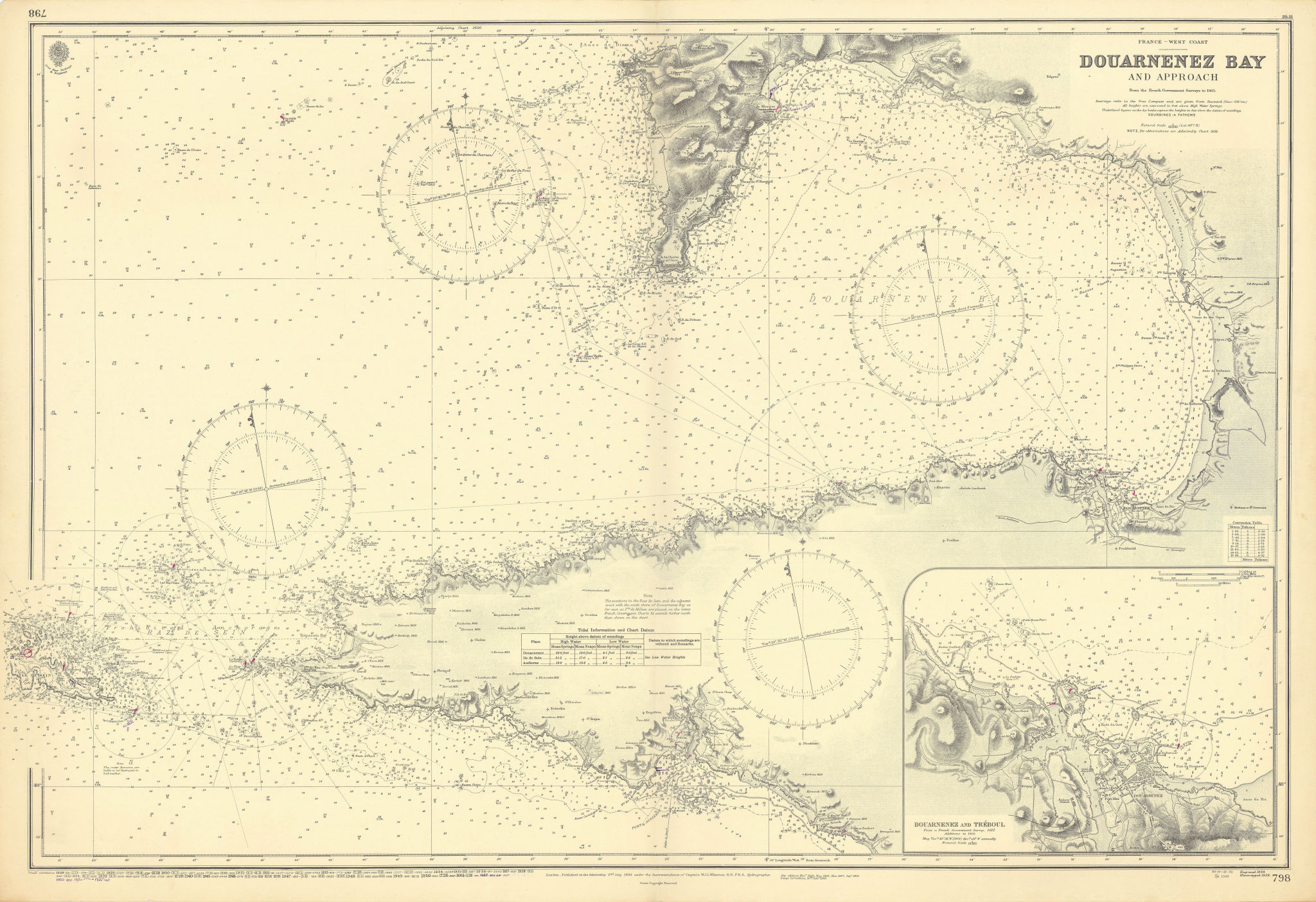 Douarnenez Bay & approach. Finistère France. ADMIRALTY sea chart 1894 (1955) map