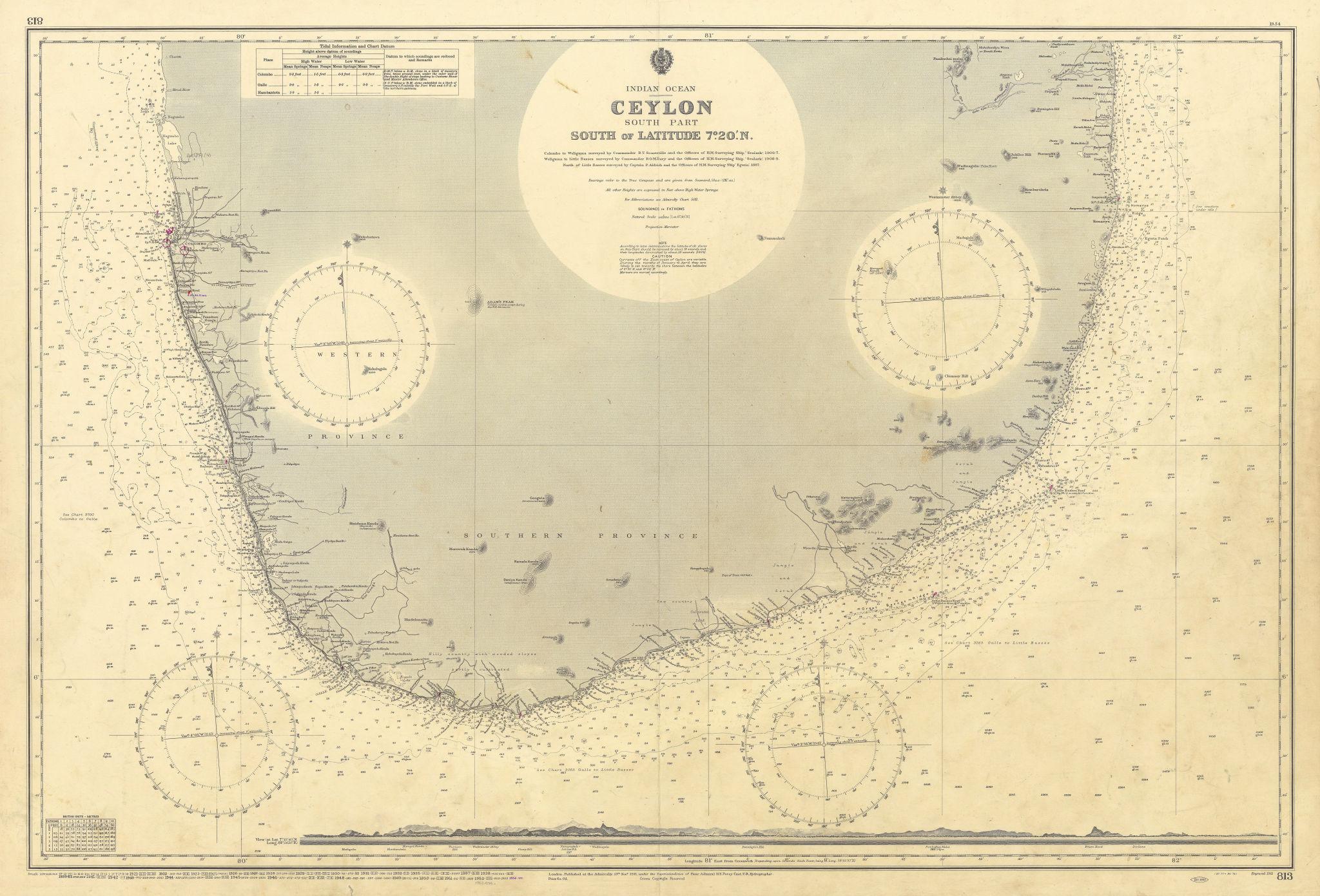 Ceylon South of Latitude 7°20'N. Sri Lanka. ADMIRALTY sea chart 1911 (1954) map