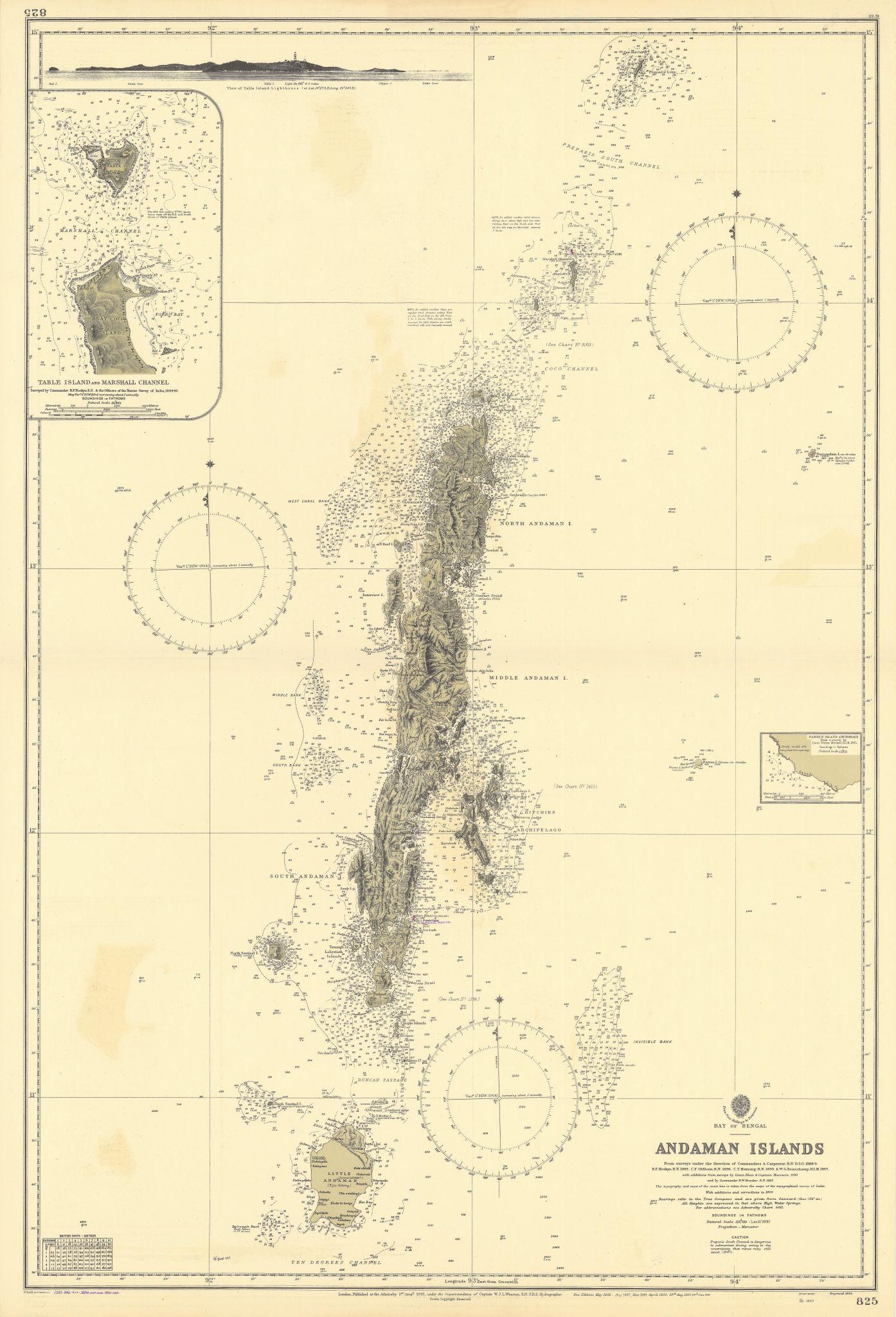 Andaman Islands. Bay of Bengal India. ADMIRALTY sea chart 1891 (1955) old map